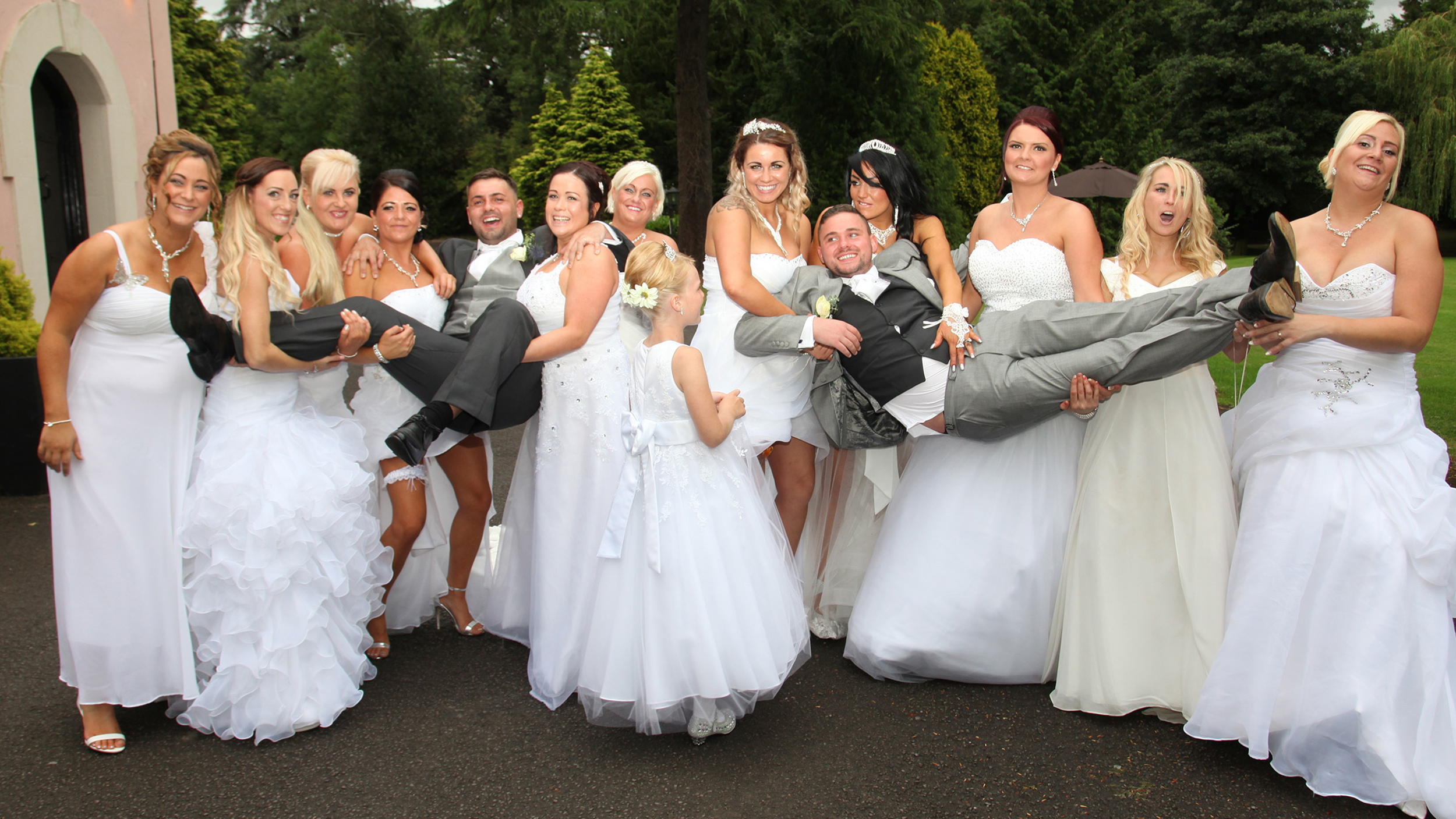 Gay couple s wedding has 10 bridesmaids — all in white