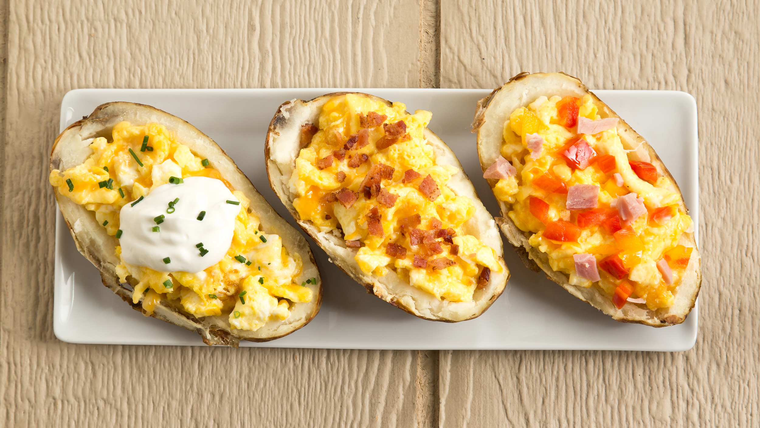 Breakfast Baked Potato Boats Stuffed With Cheesy Eggs