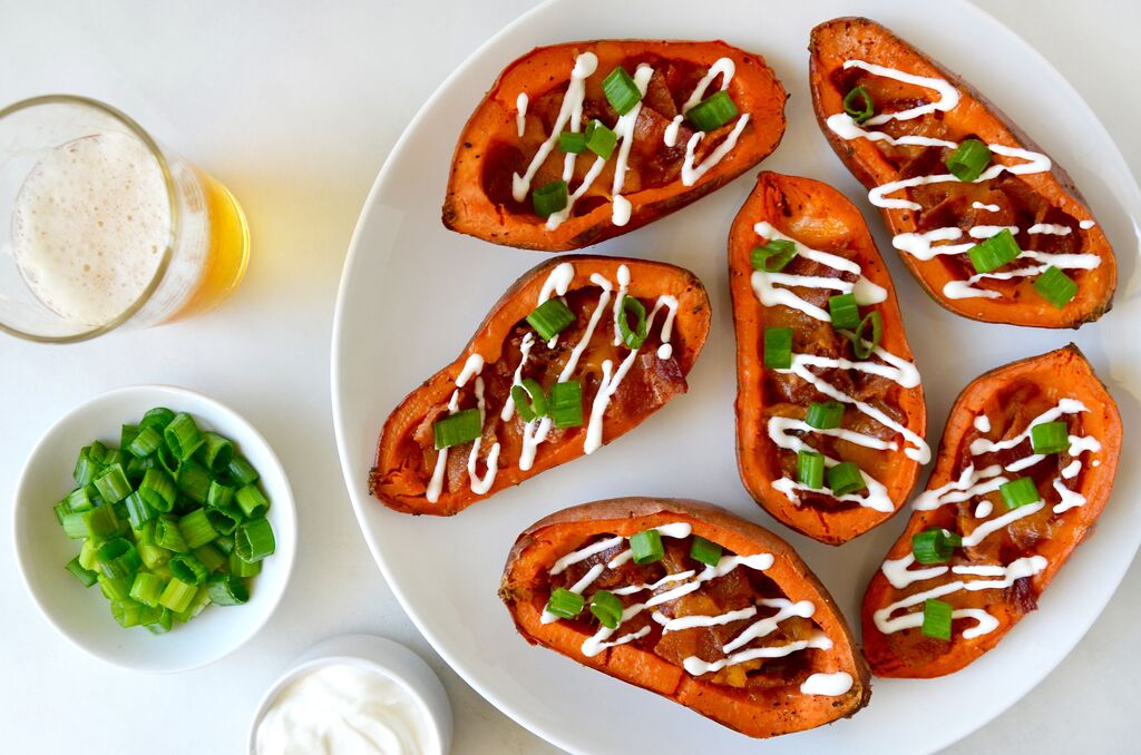 Cheesy bacon-loaded sweet potato skins, check out this ...