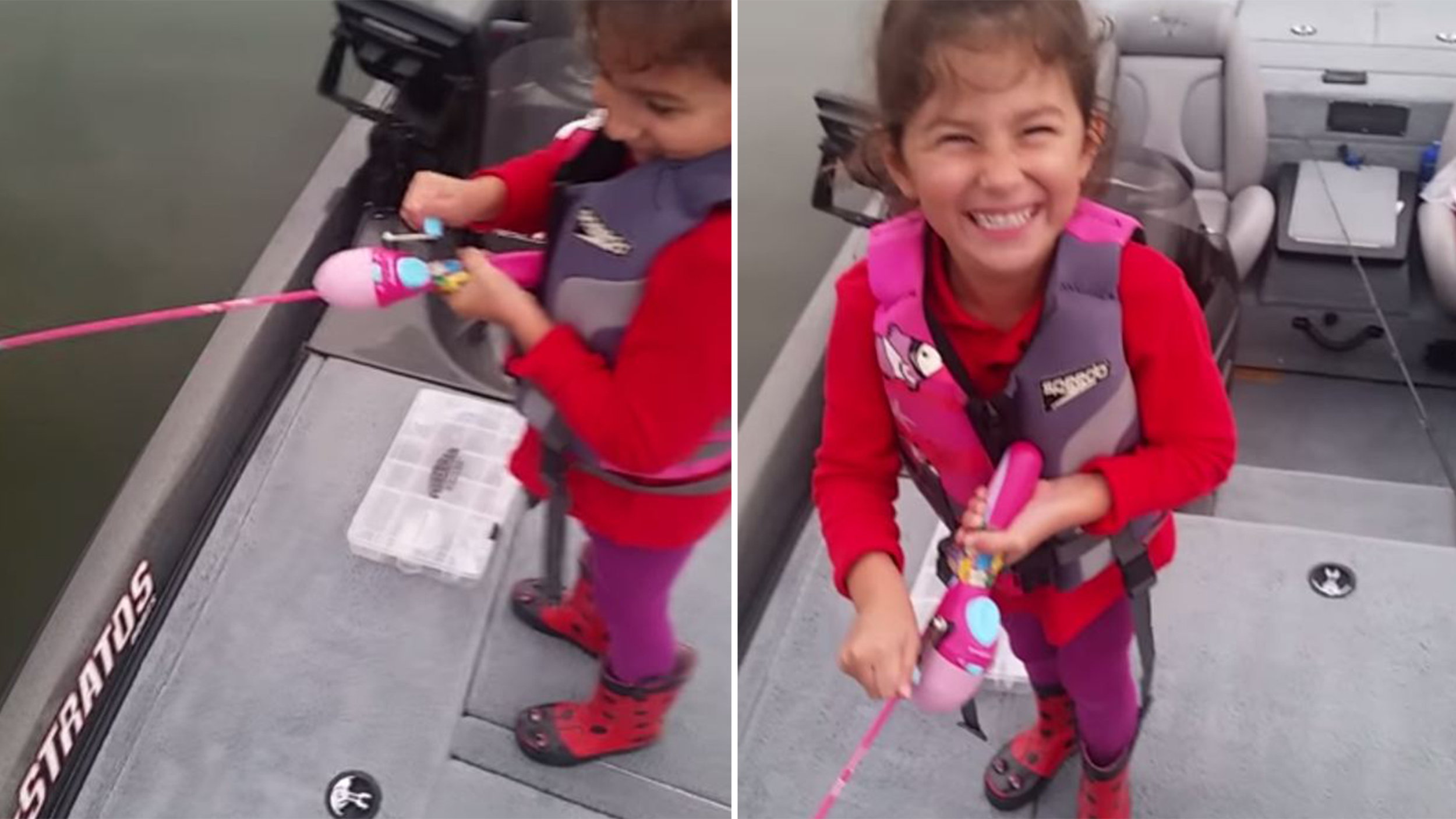 Girl reels in big bass with barbie fishing pole in sweet for Barbie fishing pole