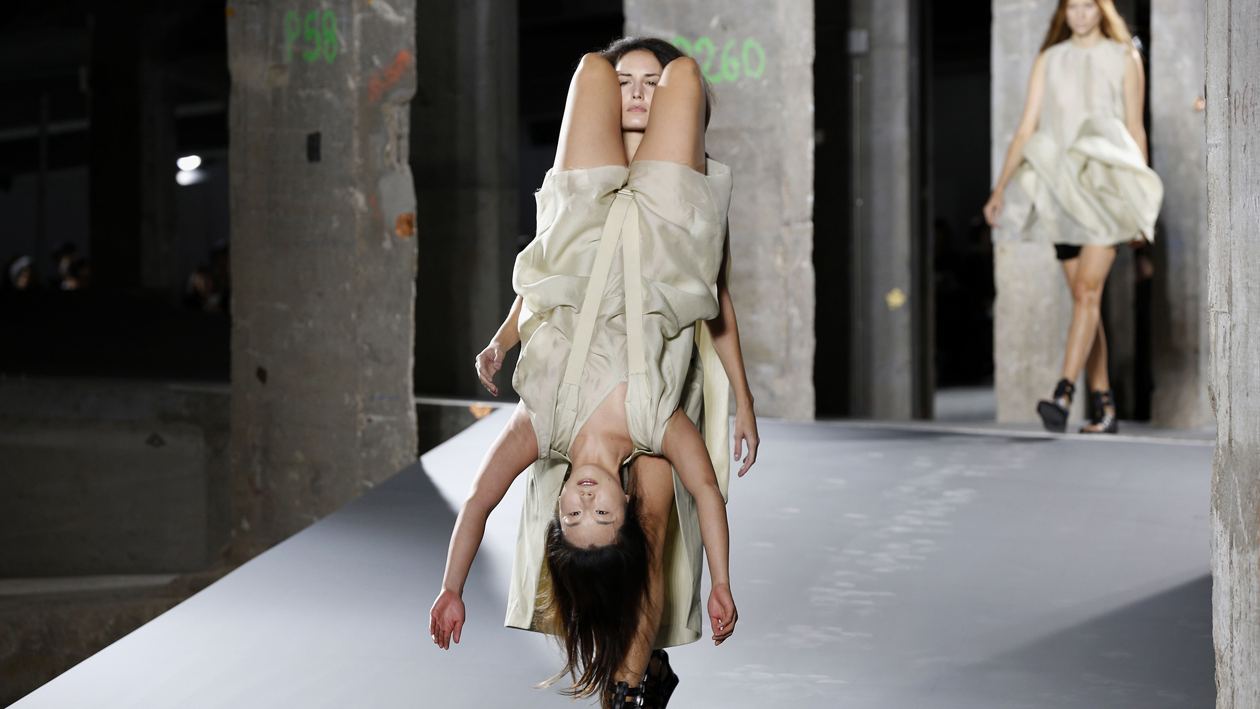 Rick owens fashion show has models wearing people backpacks Style me pink fashion show