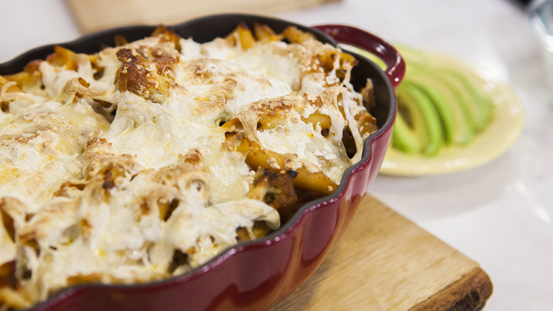 Give cheesy chicken pasta casserole a spicy kick with chipotle peppers ...
