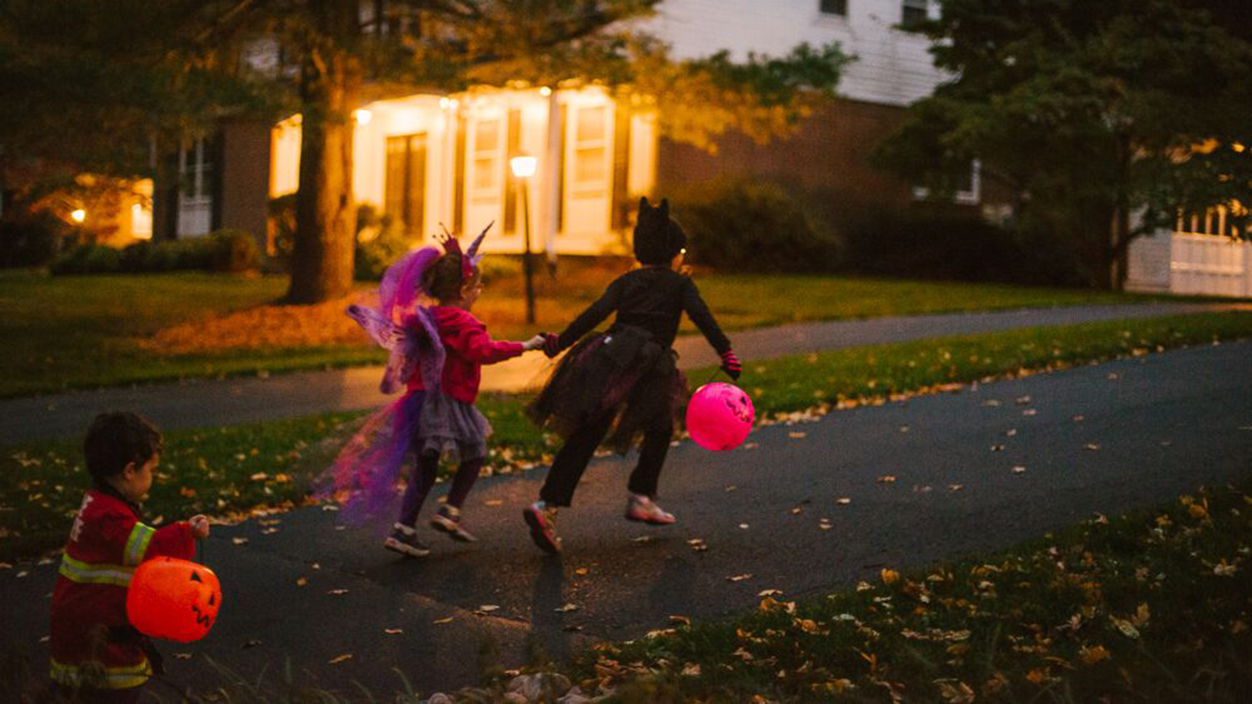 Image result for trick or treat kids pictures at night