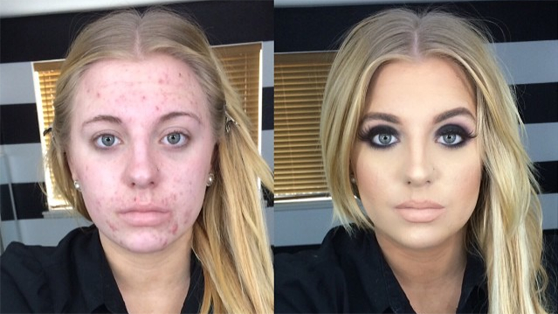 Commit error. woman before and after makeup have hit
