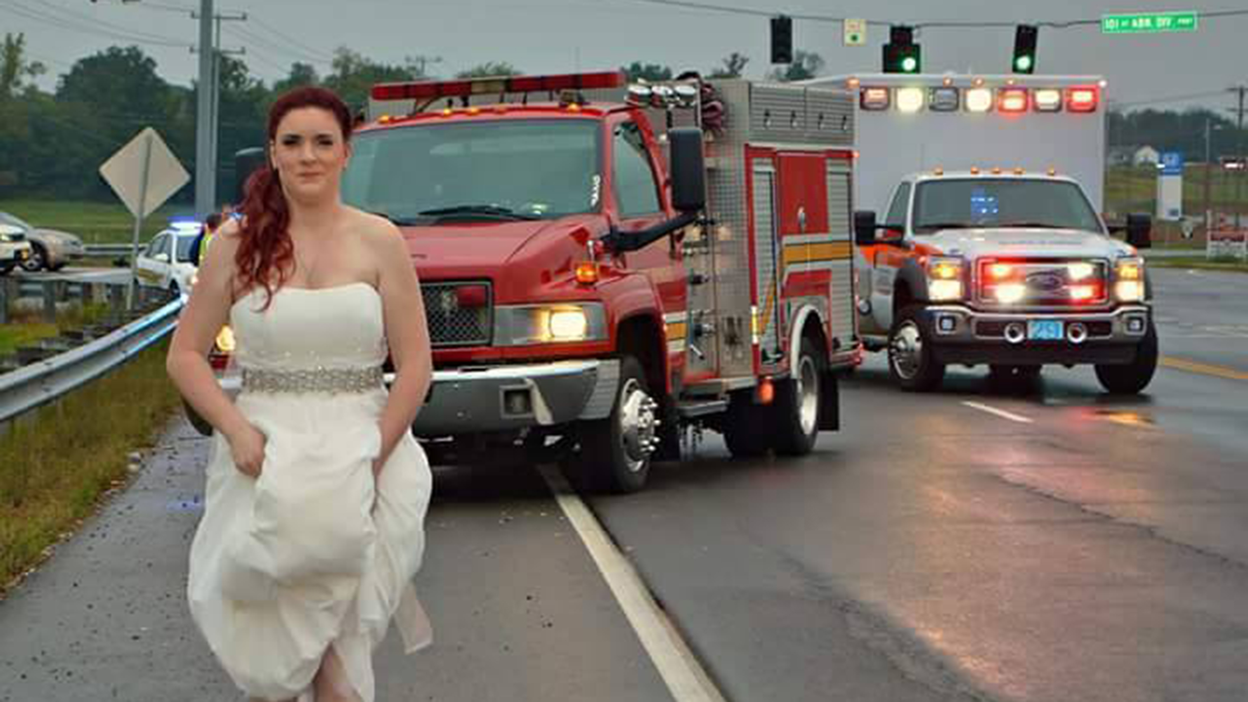 Car Wrecks Today: Paramedic Bride Rushes To Help Family In Car Crash On