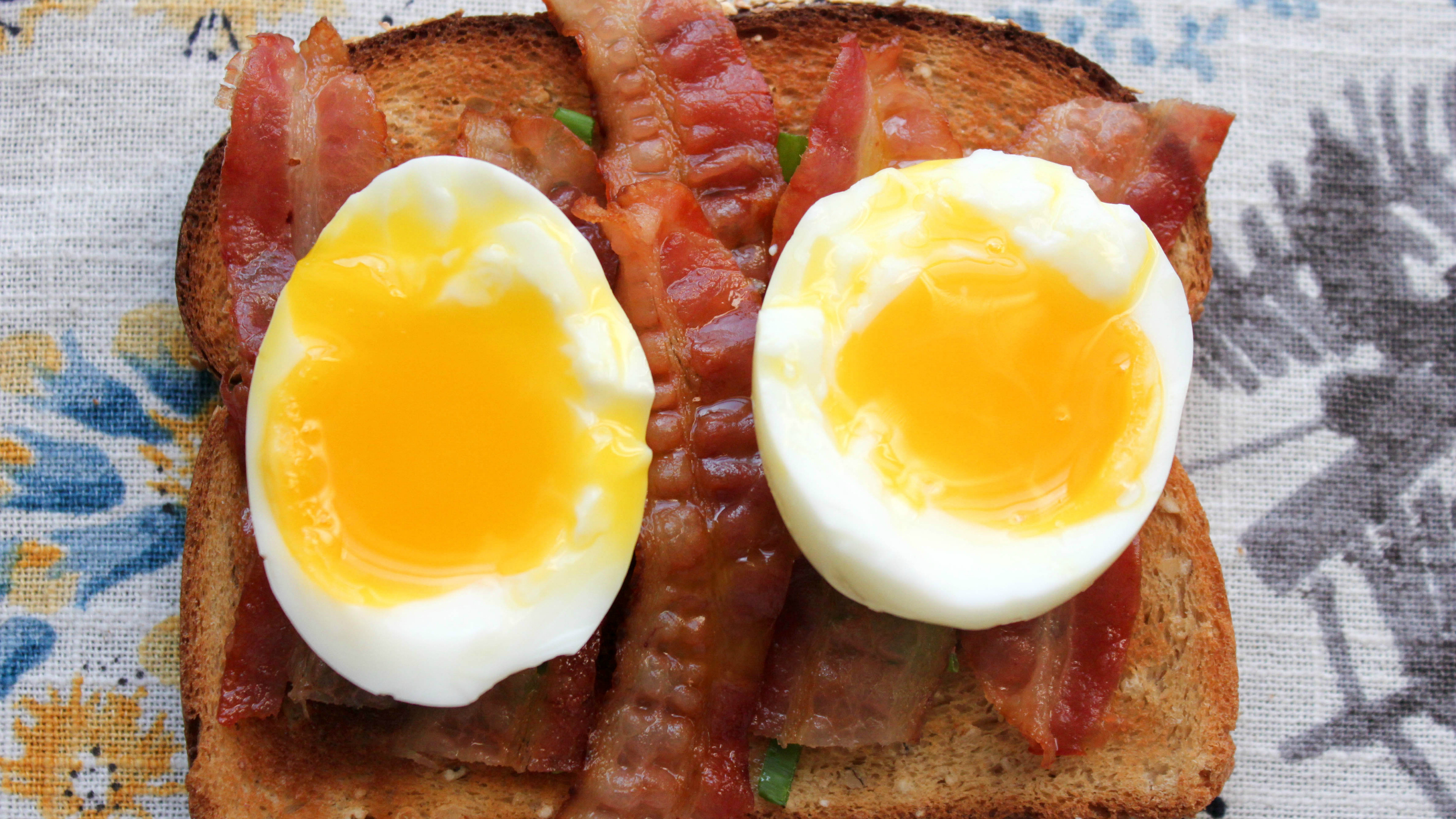 Bacon And Soft Boiled Egg Toast With Scallions Today Com