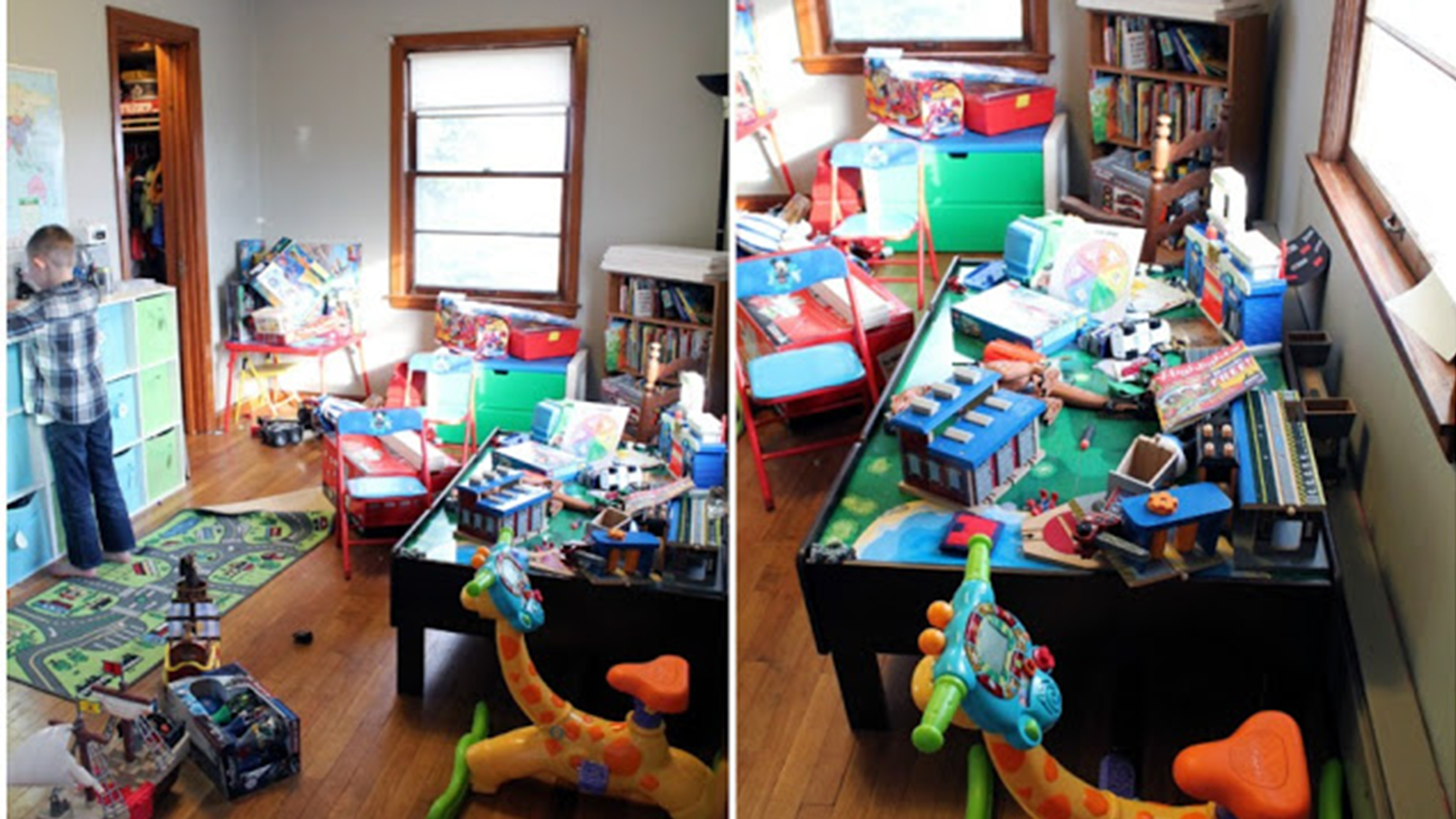 See this playroom go from disorganized to dreamy for How to organize toys in living room