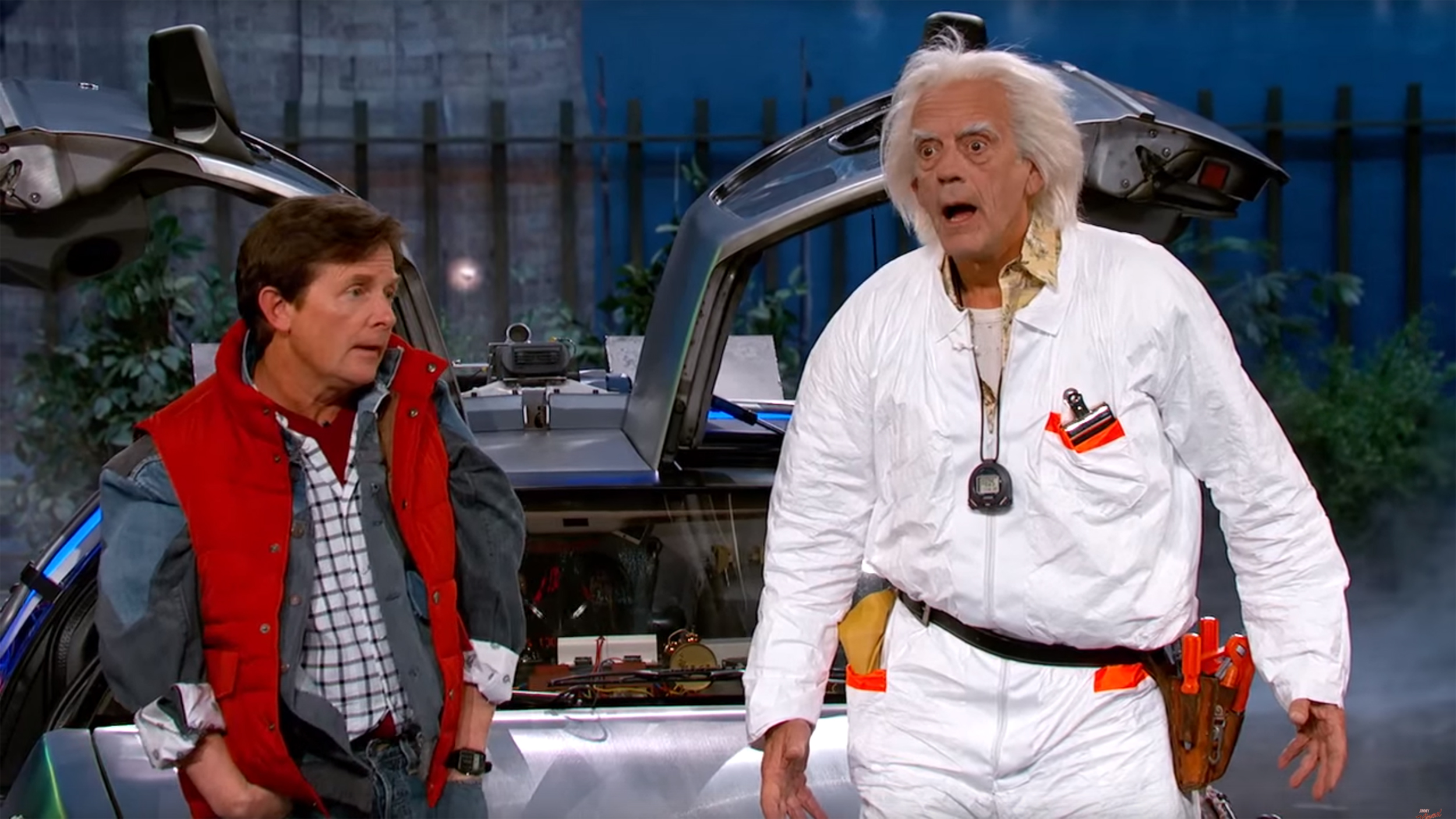 Lloyd reprise back to the future roles on kimmel today com