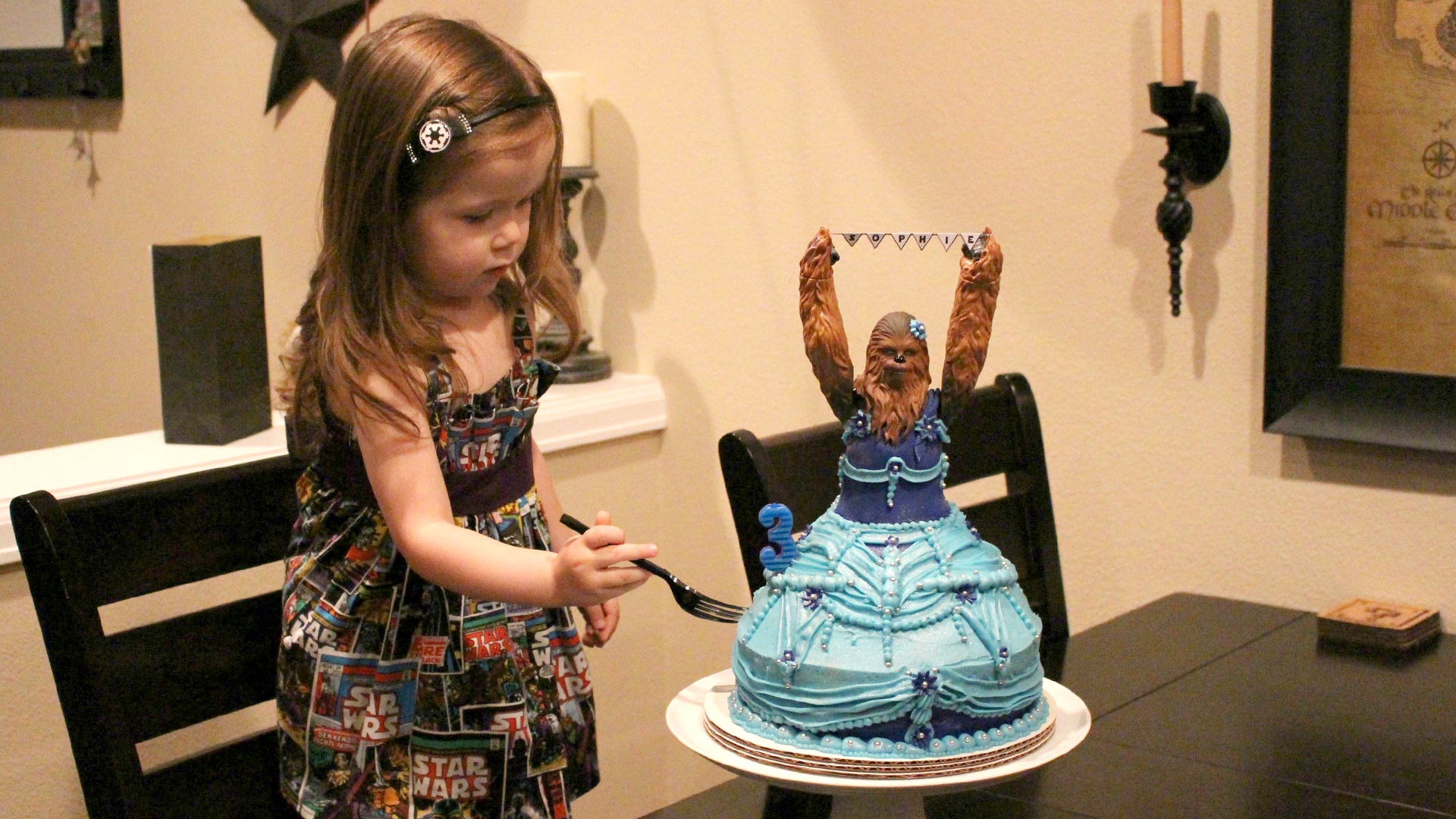 Princess Chewbacca 3 Year Old Celebrates Birthday With Amazing Star Wars Cake