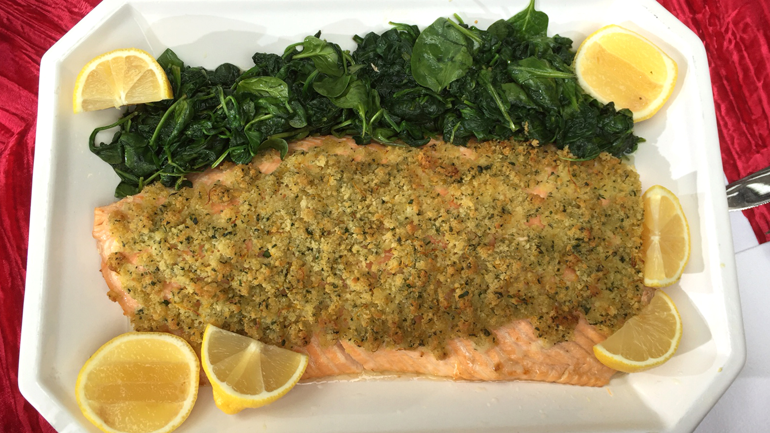 Fast and Easy Lemon-Crusted Salmon with Garlic Spinach - TODAY.com
