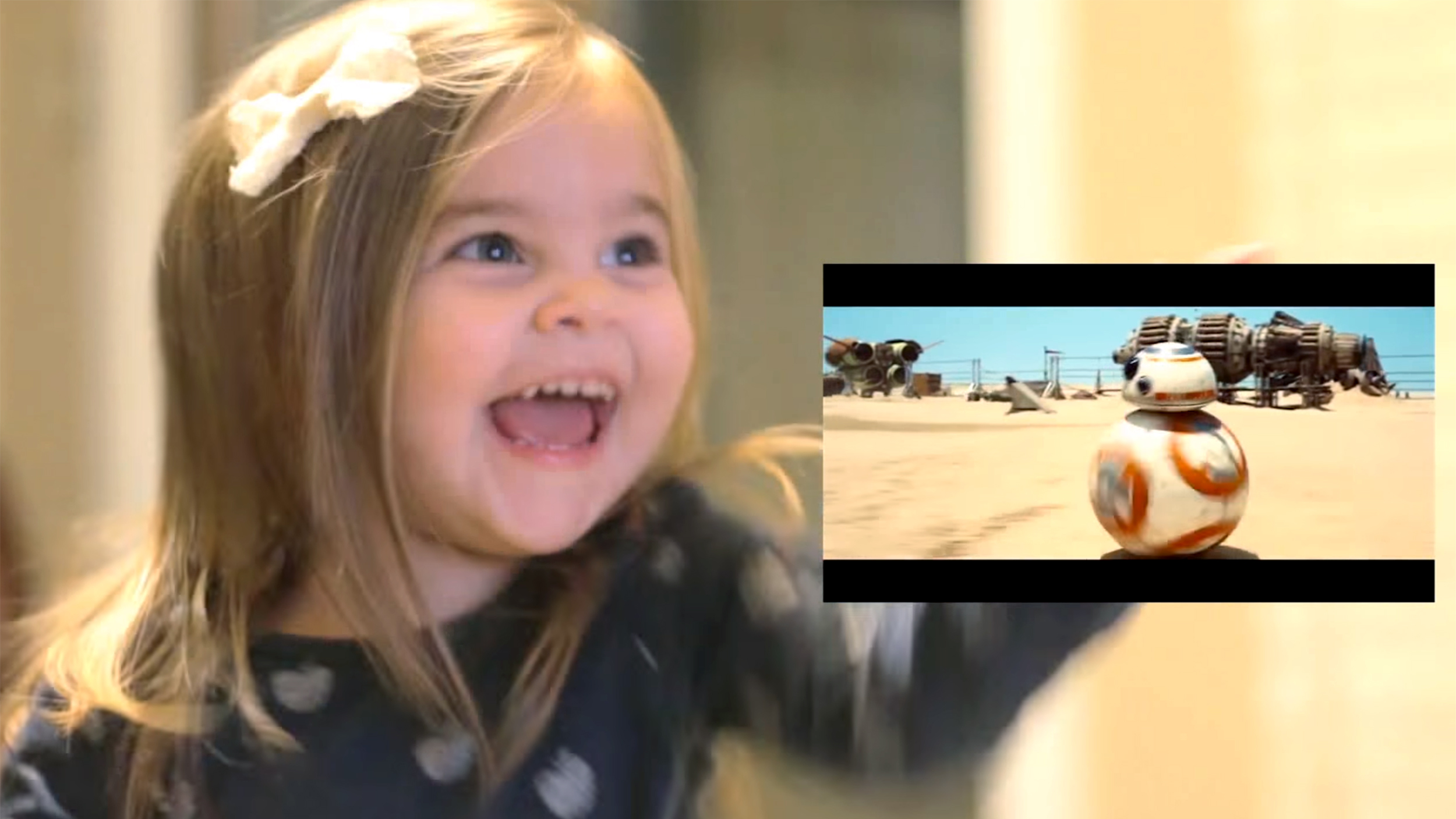 Little Girl Watching Star Wars The Force Awakens Trailer Has - Little girls reaction to seeing her parents clearly for the first time is adorable