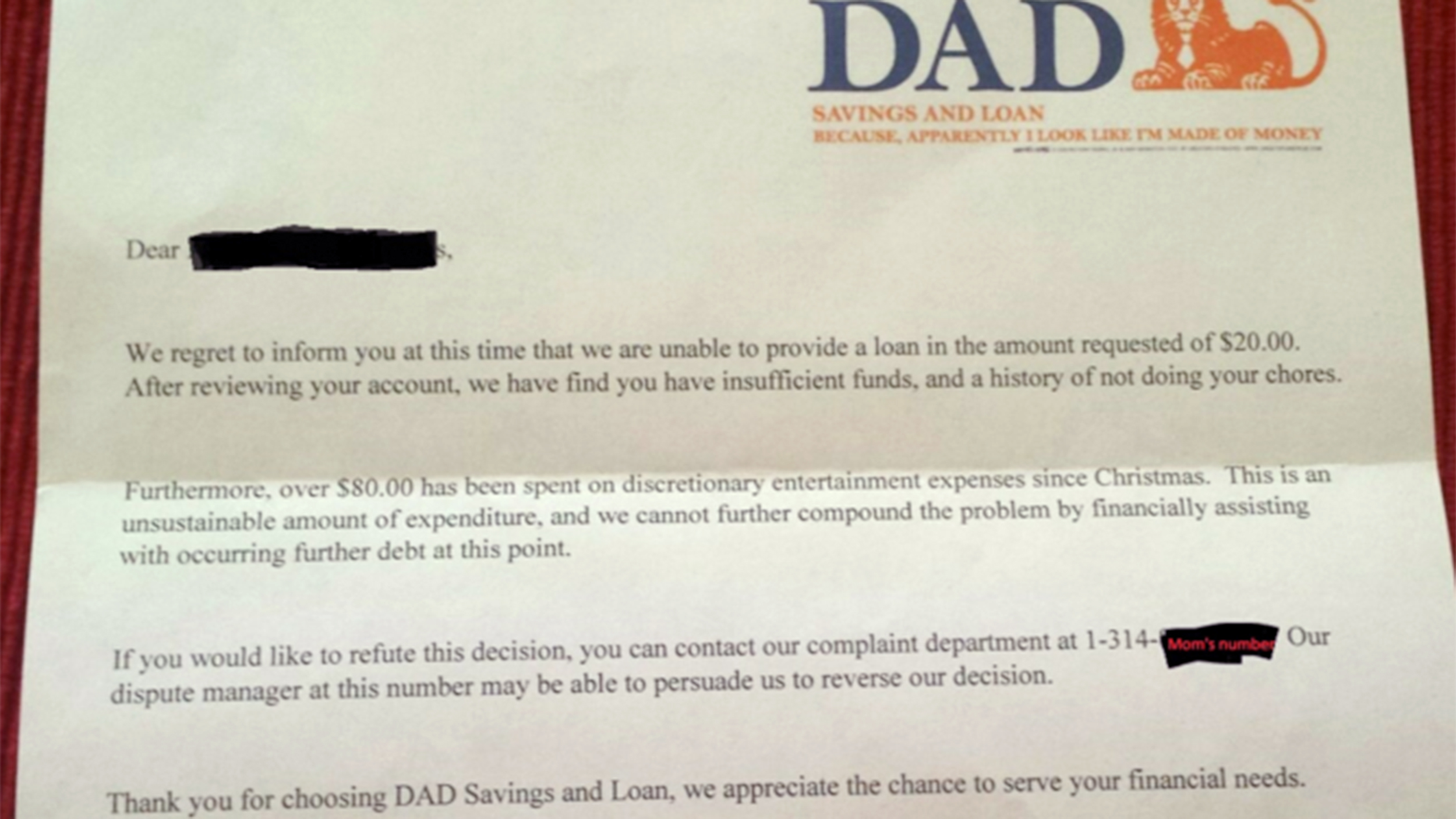 you have insufficient funds see this dads great response to his sons allowance request todaycom