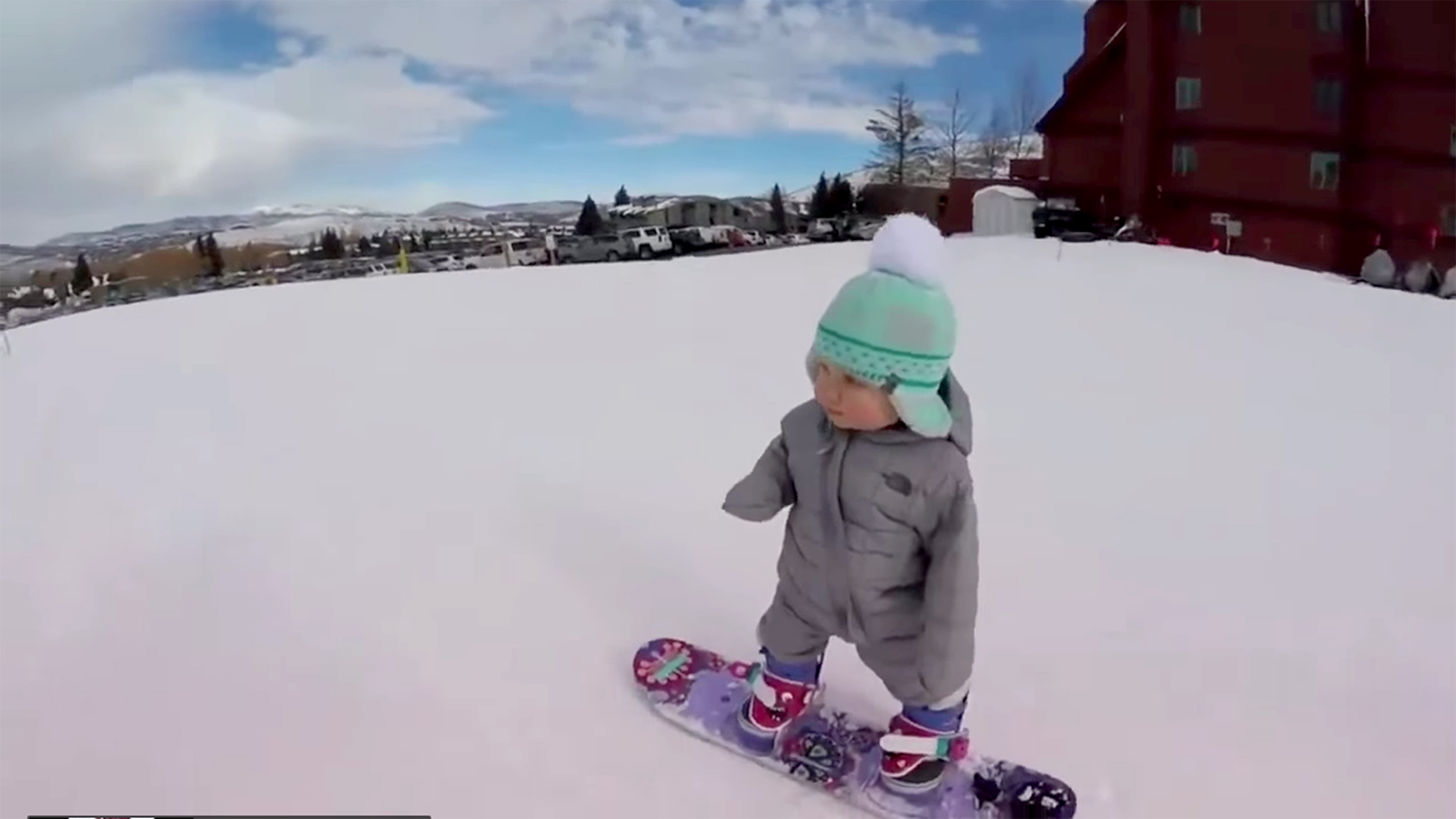 1 Year Old Snowboarder Sloan Henderson Cruises Slopes