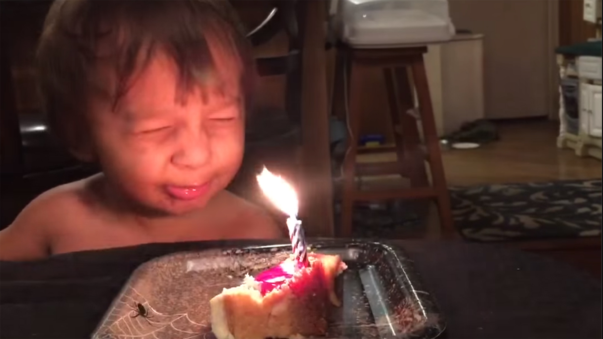 Little Boy Tries Everything To Blow Out His Birthday