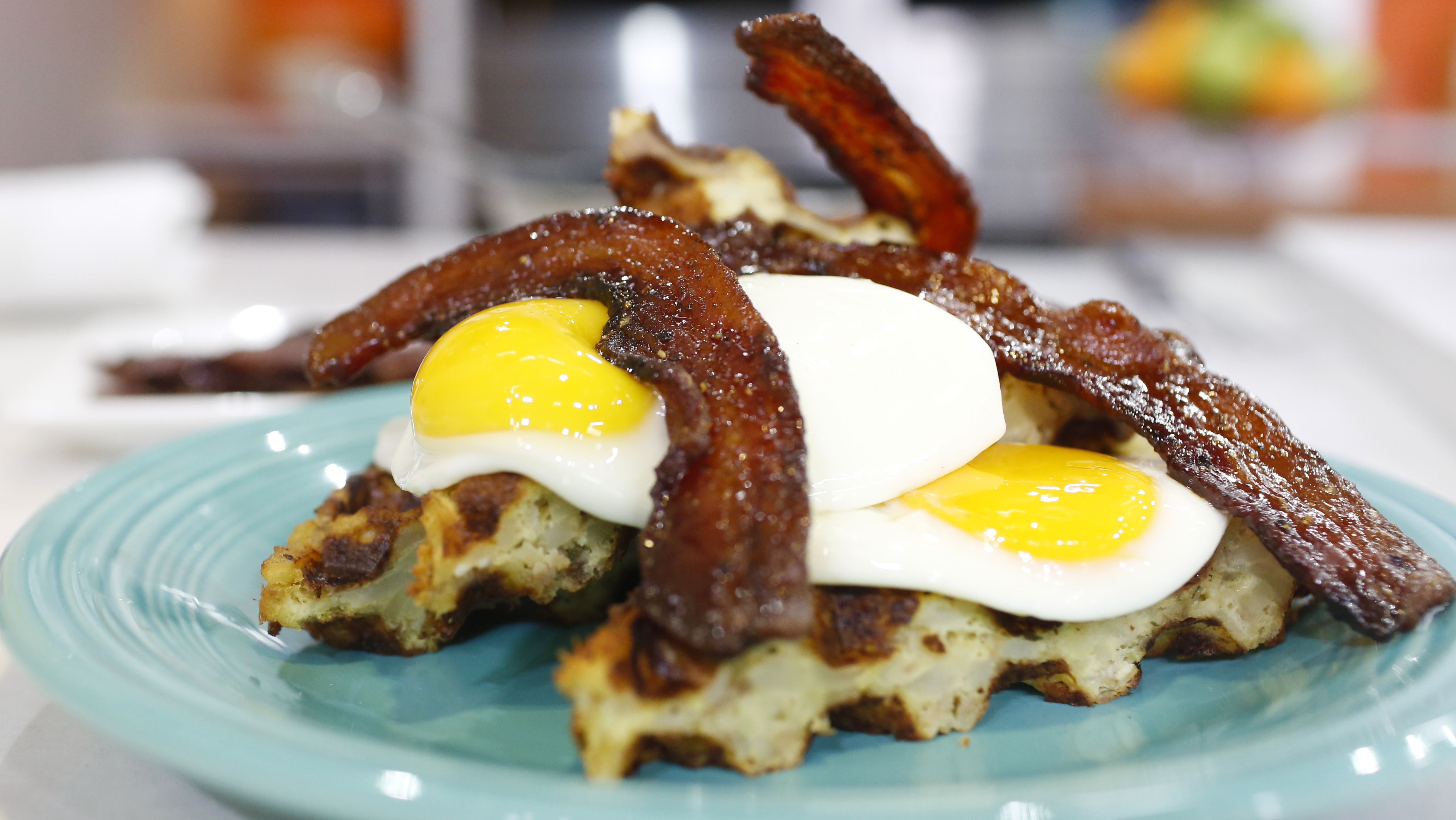 Hash Brown Waffle with Fried Egg and Candied Bacon - TODAY.com