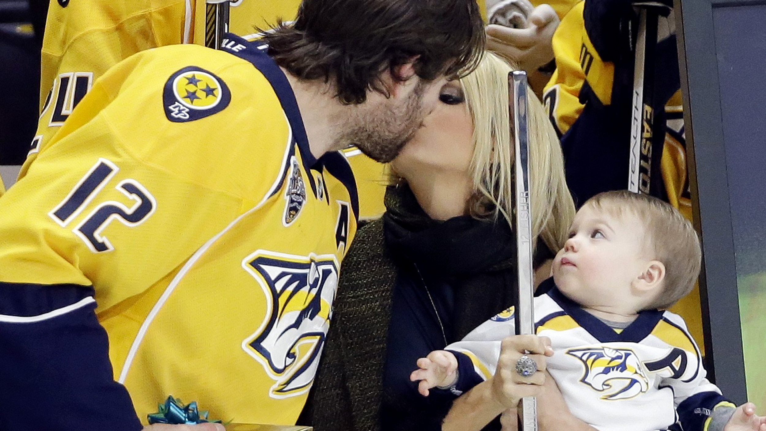 Carrie underwood and son celebrate hubby mike fisher 39 s 1 for Who is carrie underwood married too