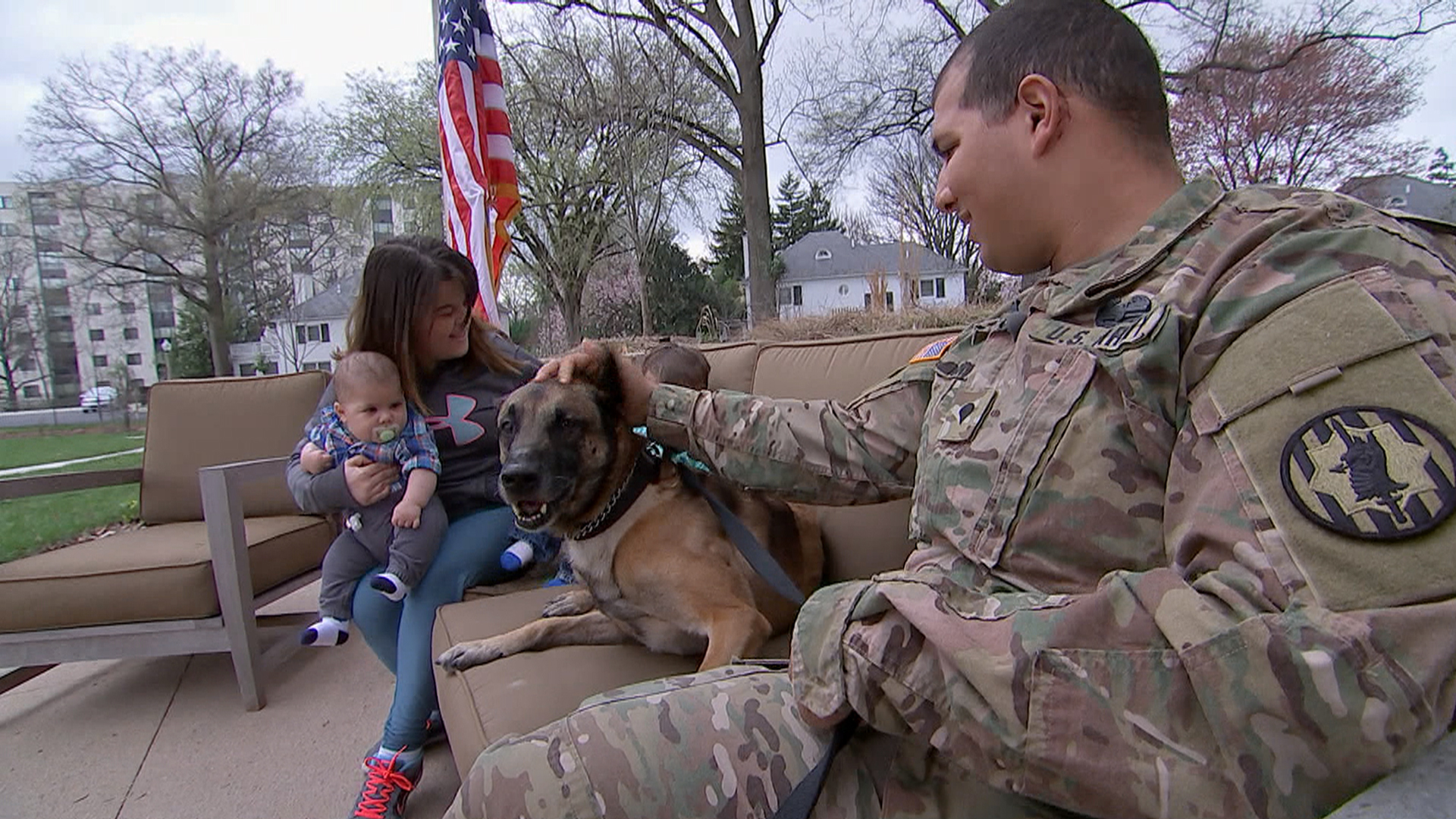 Wounded Military Dog Rocky Reunited