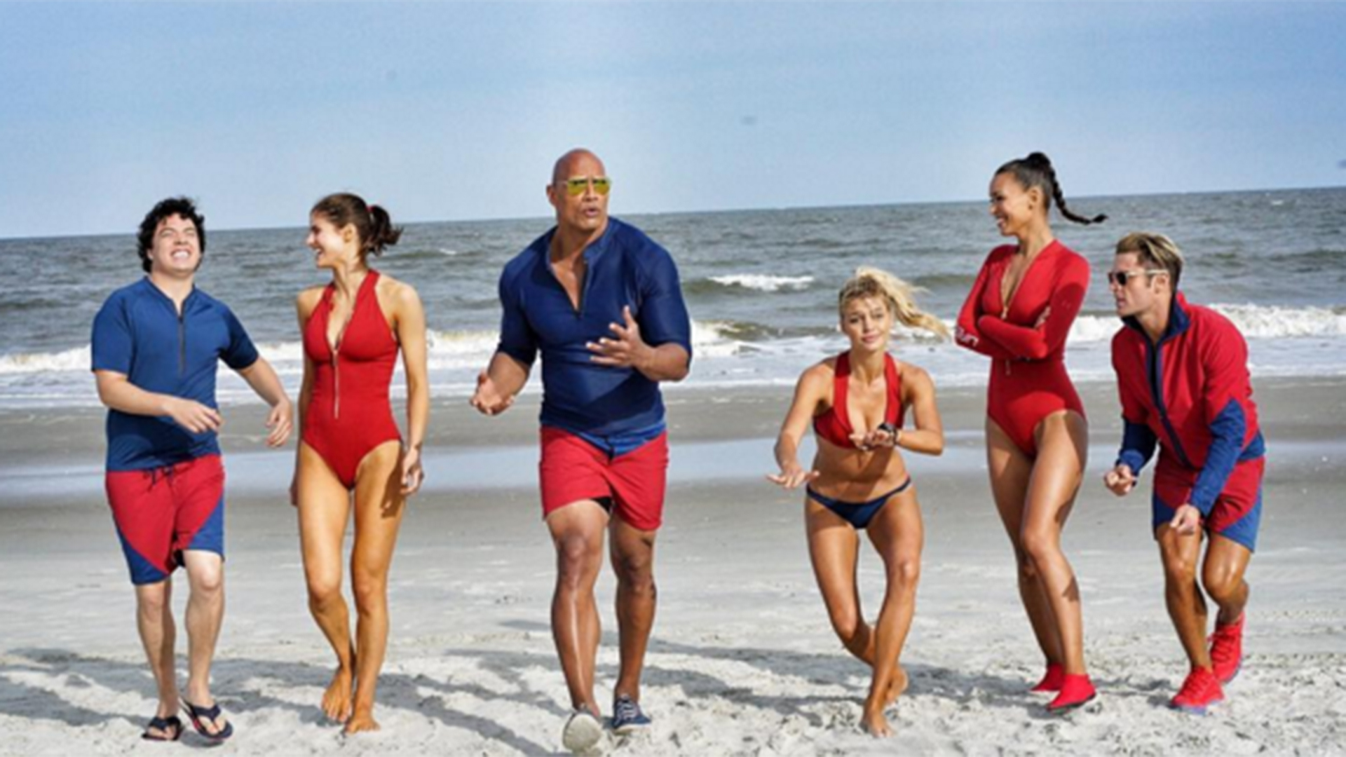baywatch stars are on duty see dwayne the rock johnson