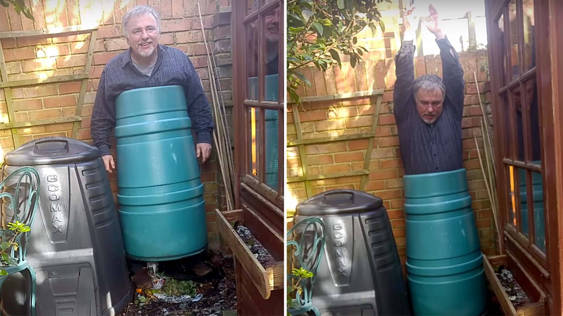Dad Gets Stuck In Backyard Compost Bin Leaving His Family