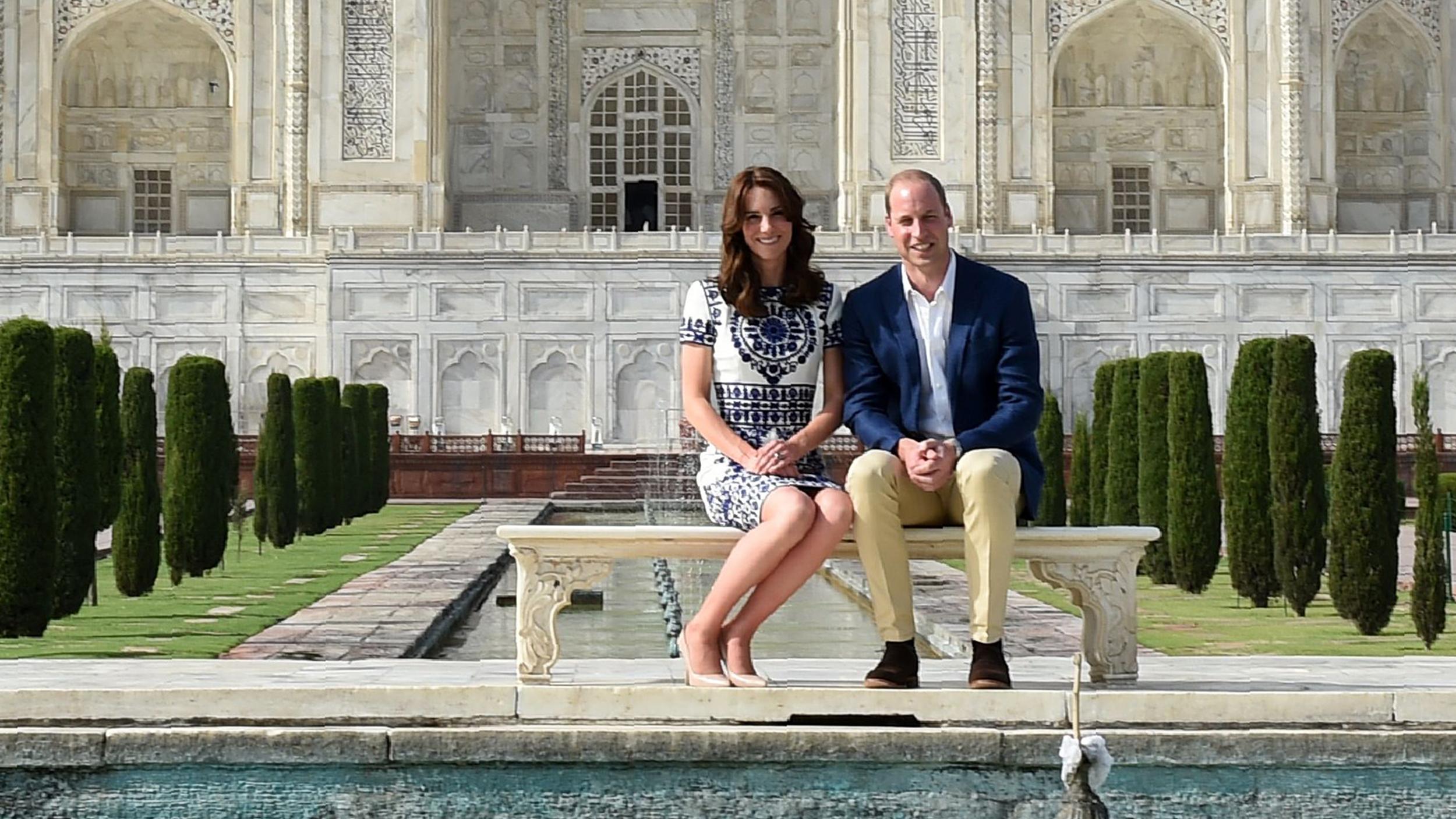 Prince William Duchess Kate Visit The Taj Mahal Sit On