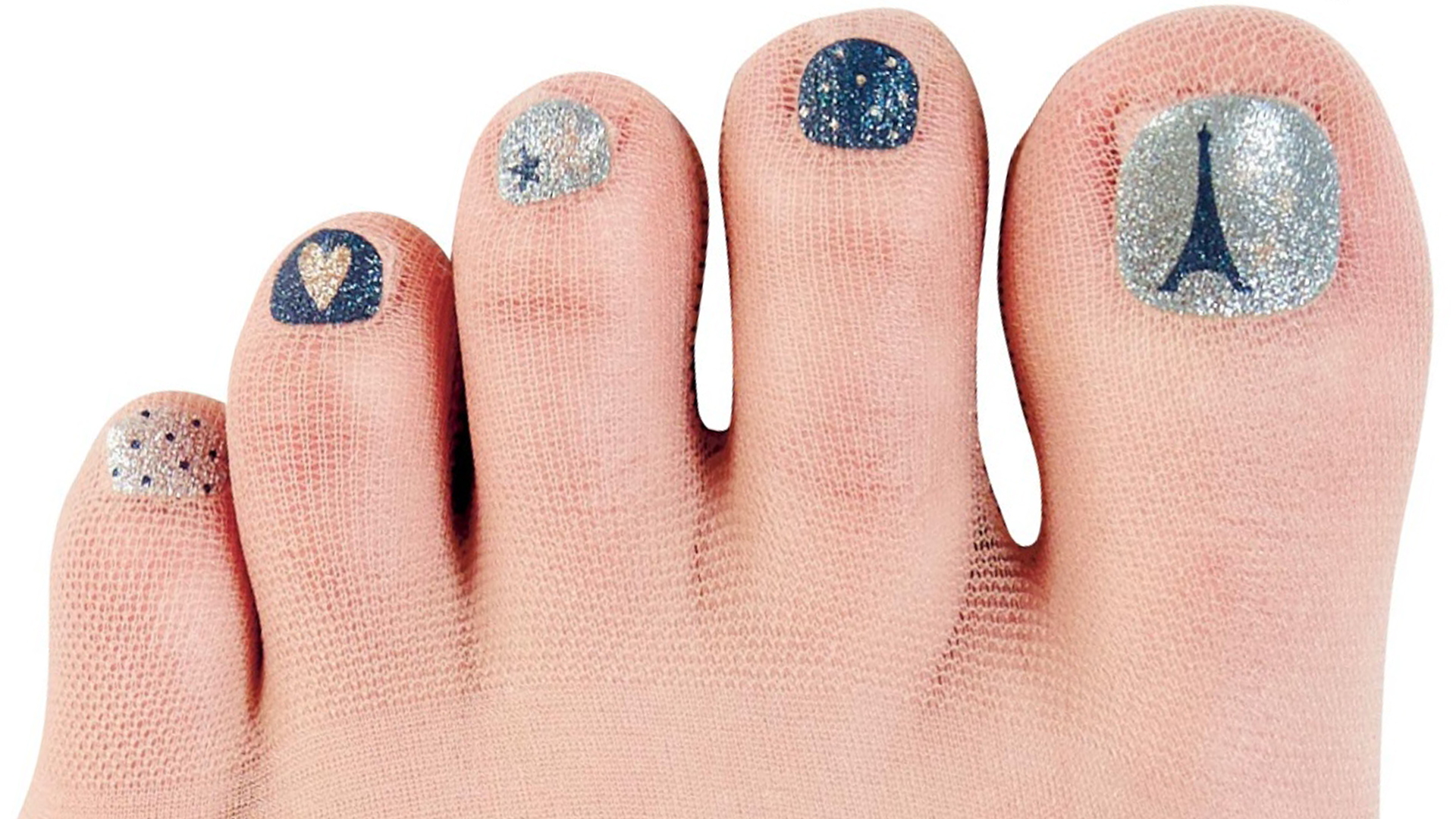 Pedicure stockings have nail polish printed on so you can ...