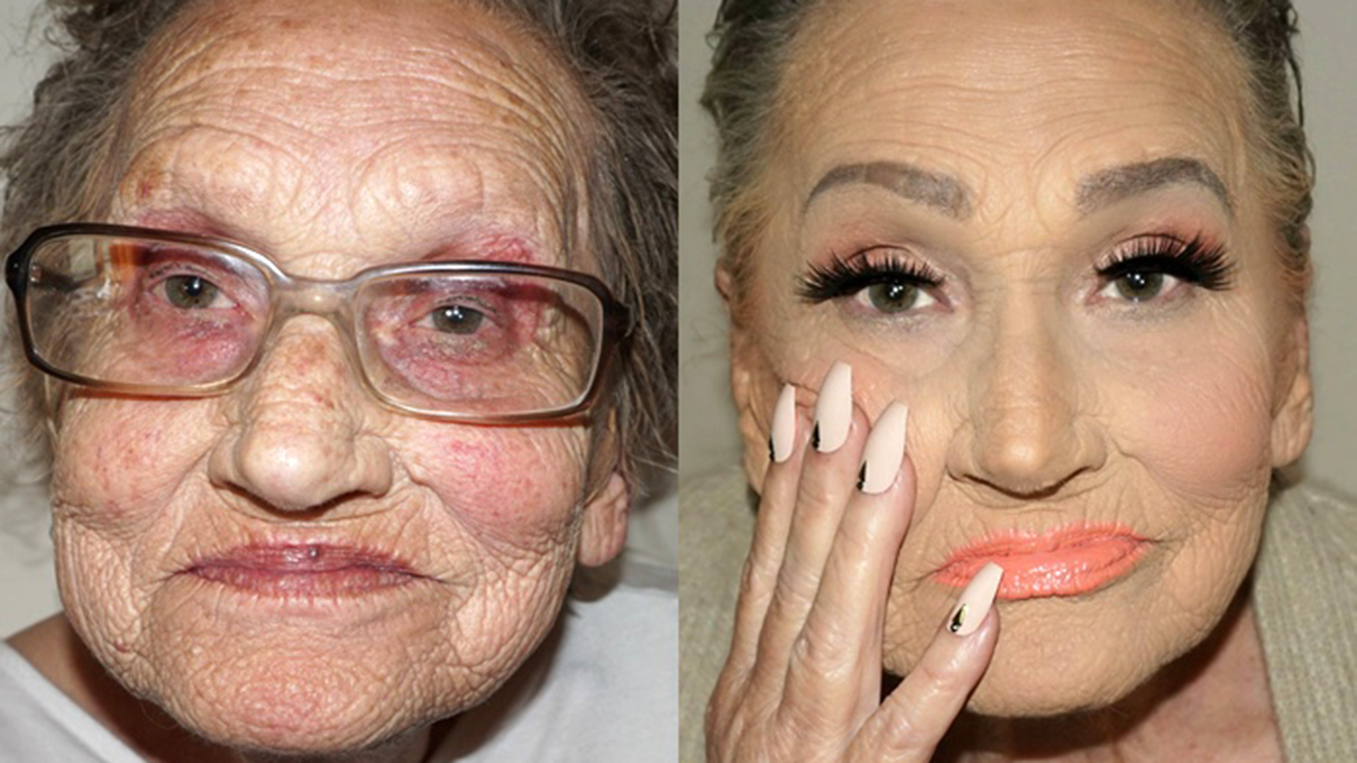 Image result for before after old woman makeup