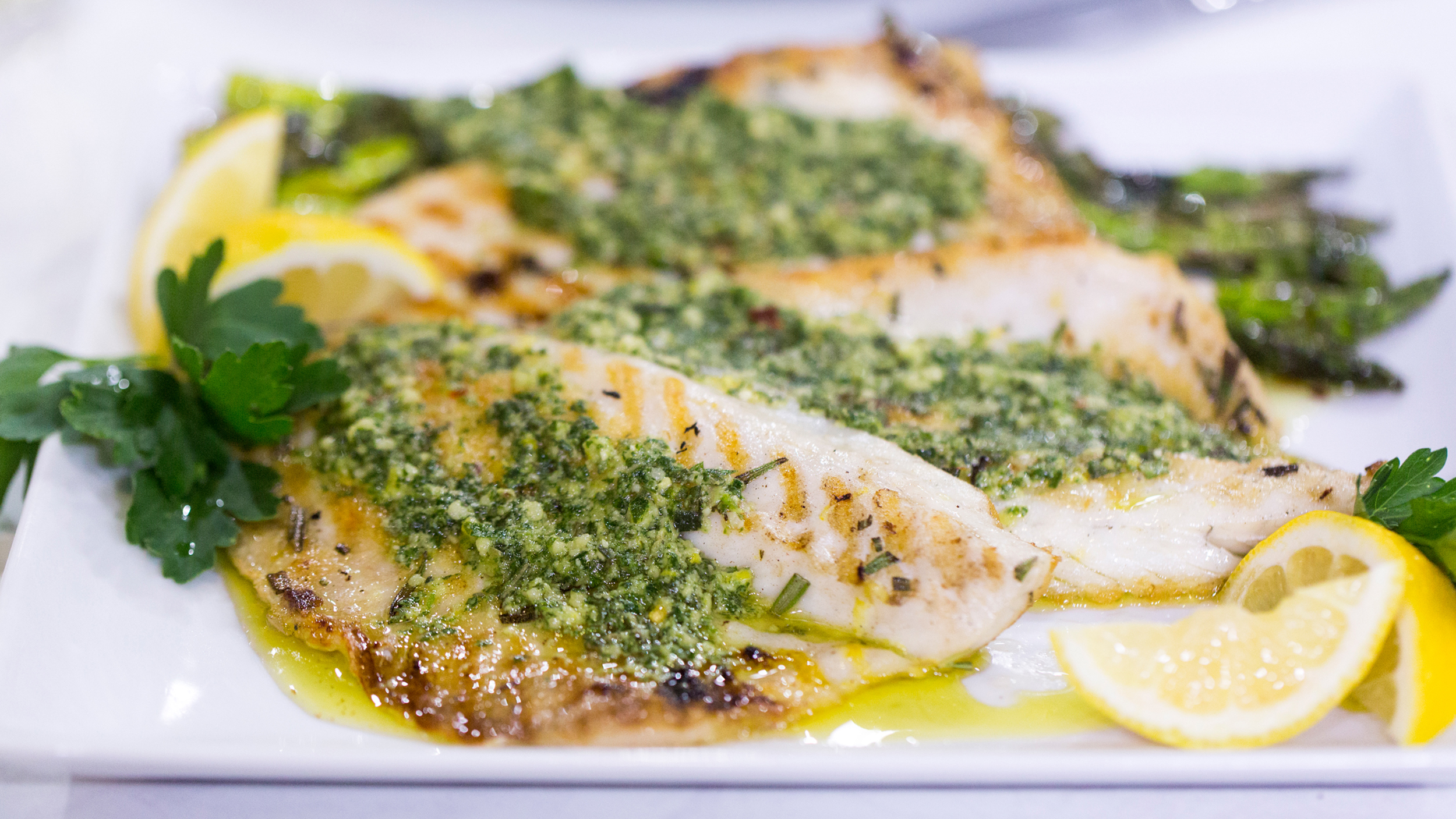 Grilled branzino with anchovy and rosemary pesto for Branzino fish recipes