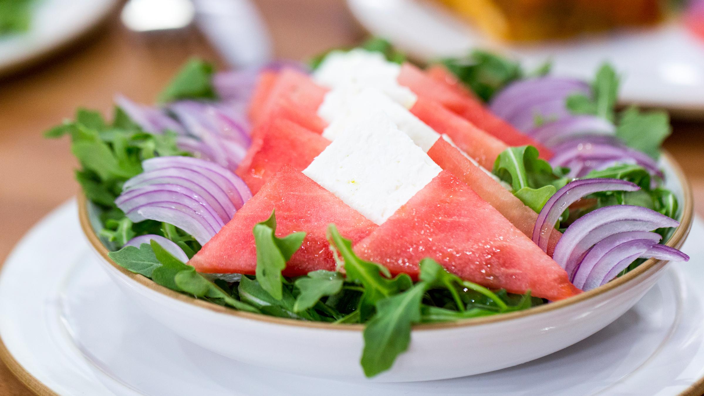 5 ingredient watermelon feta and arugula salad. Black Bedroom Furniture Sets. Home Design Ideas