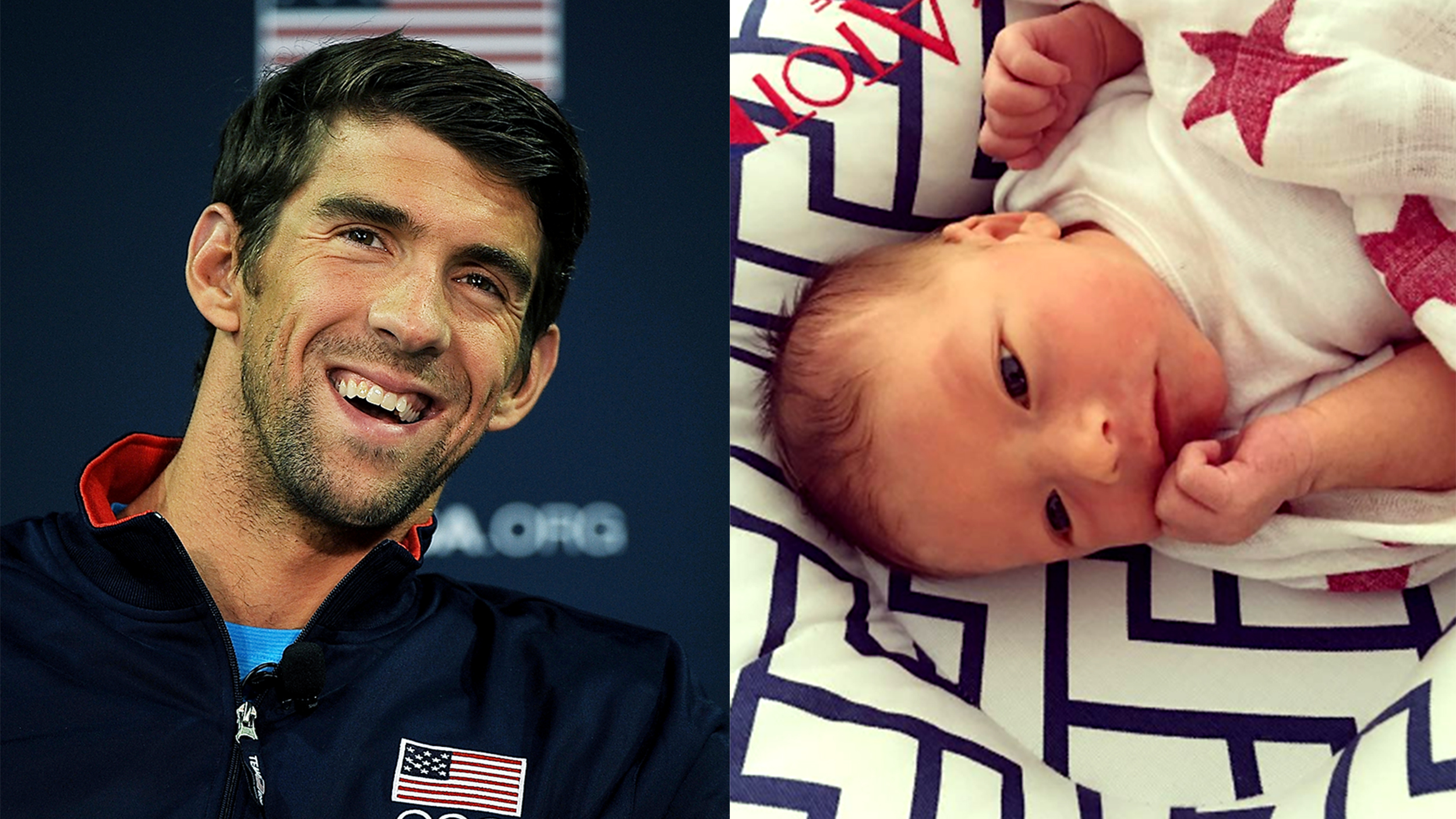 michael phelps introduces baby son boomer in facebook live. Black Bedroom Furniture Sets. Home Design Ideas