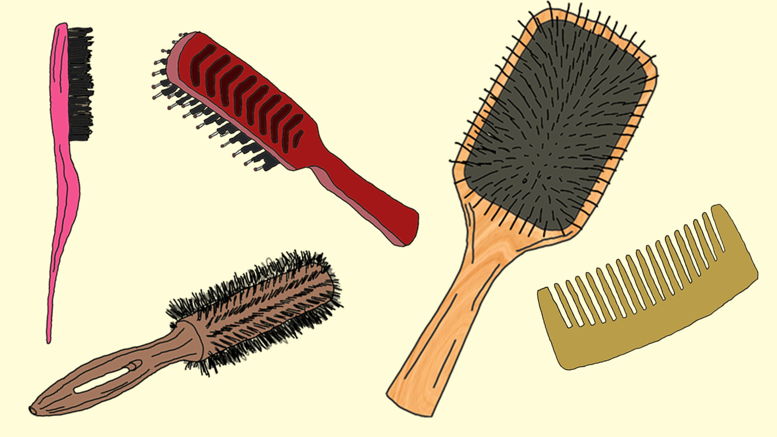different styles of combing hair hairbrush and comb 7297
