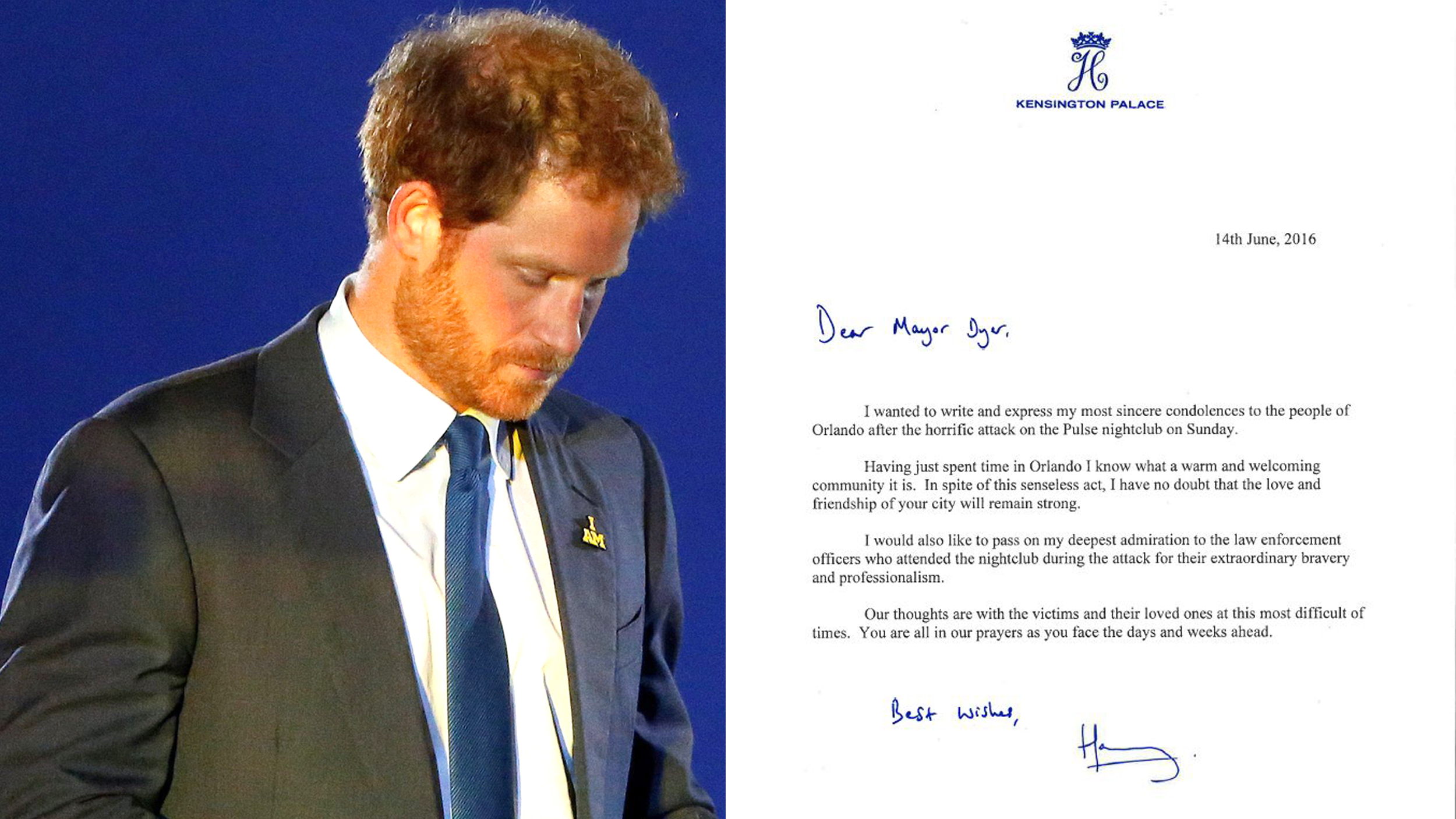 Prince Harry Writes Letter Of Sympathy To The People Of Orlando