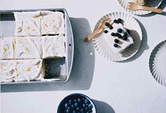 Vanilla Sheet Cake With Lemon Cream Cheese Frosting