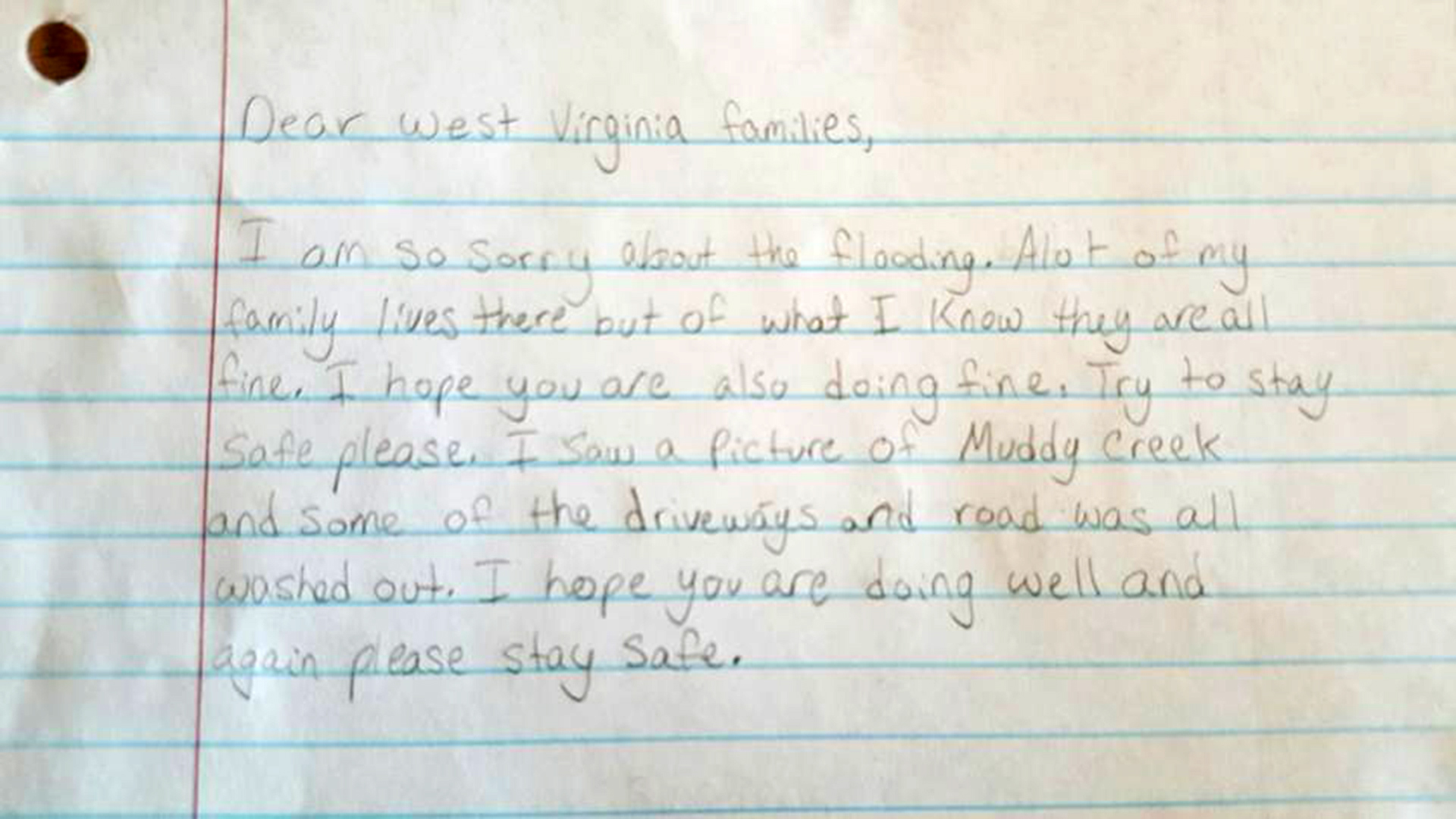 little girl pens sweet note to those affected by west virginia floods