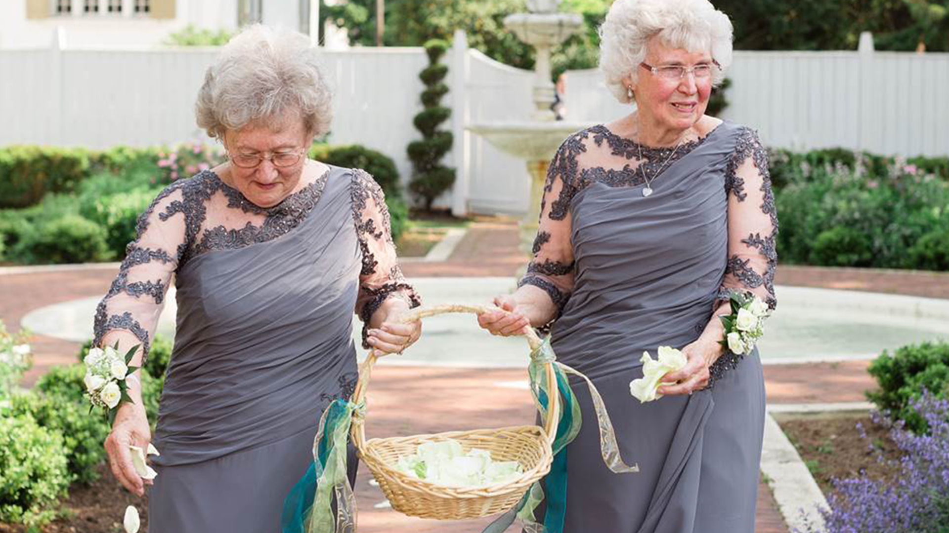 These adorable grandmothers are flower girls at wedding for Grandmother dresses for grandson s wedding