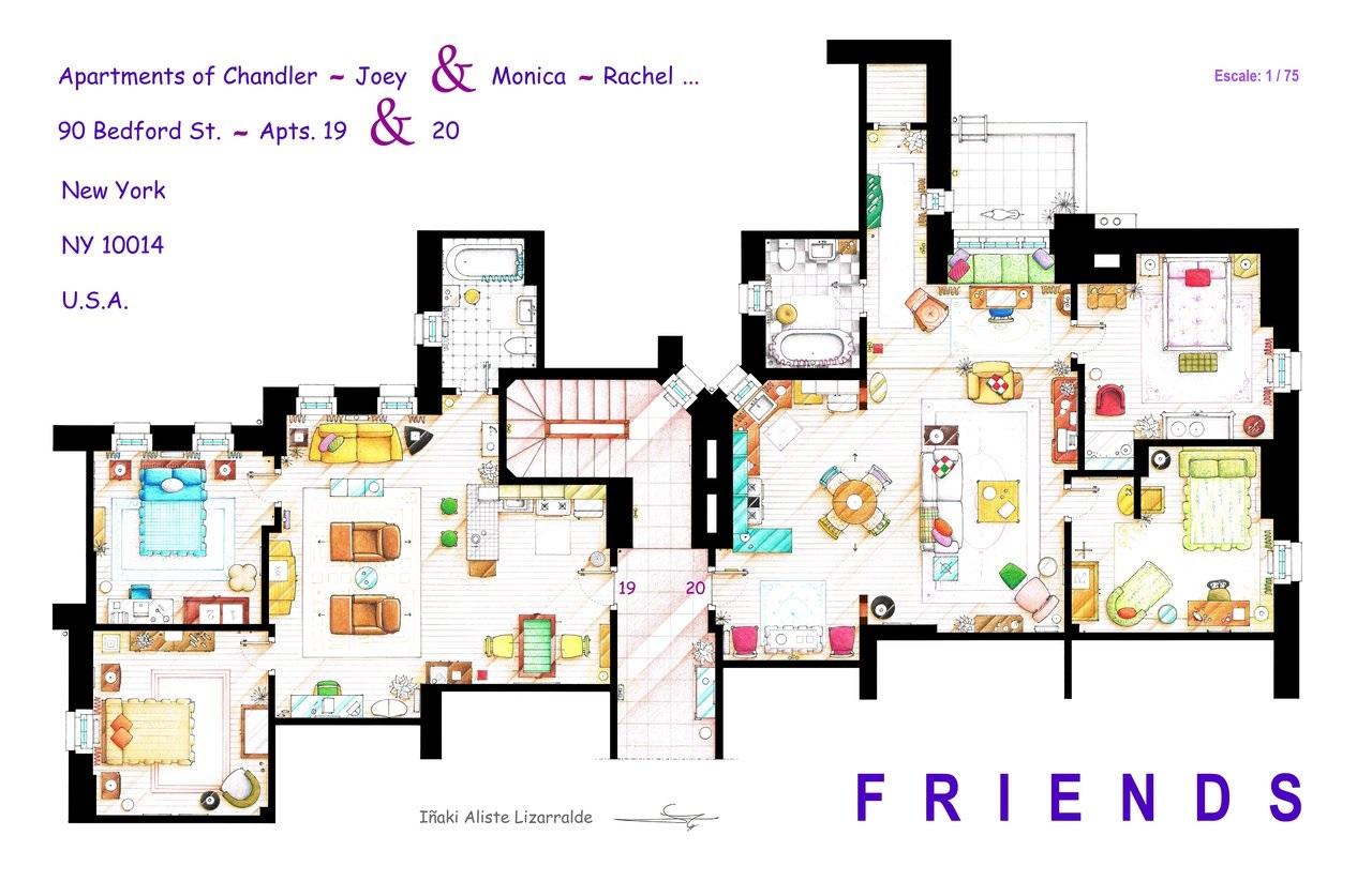 Artist draws beautiful floor plans of famous tv show homes for Beautiful home floor plans