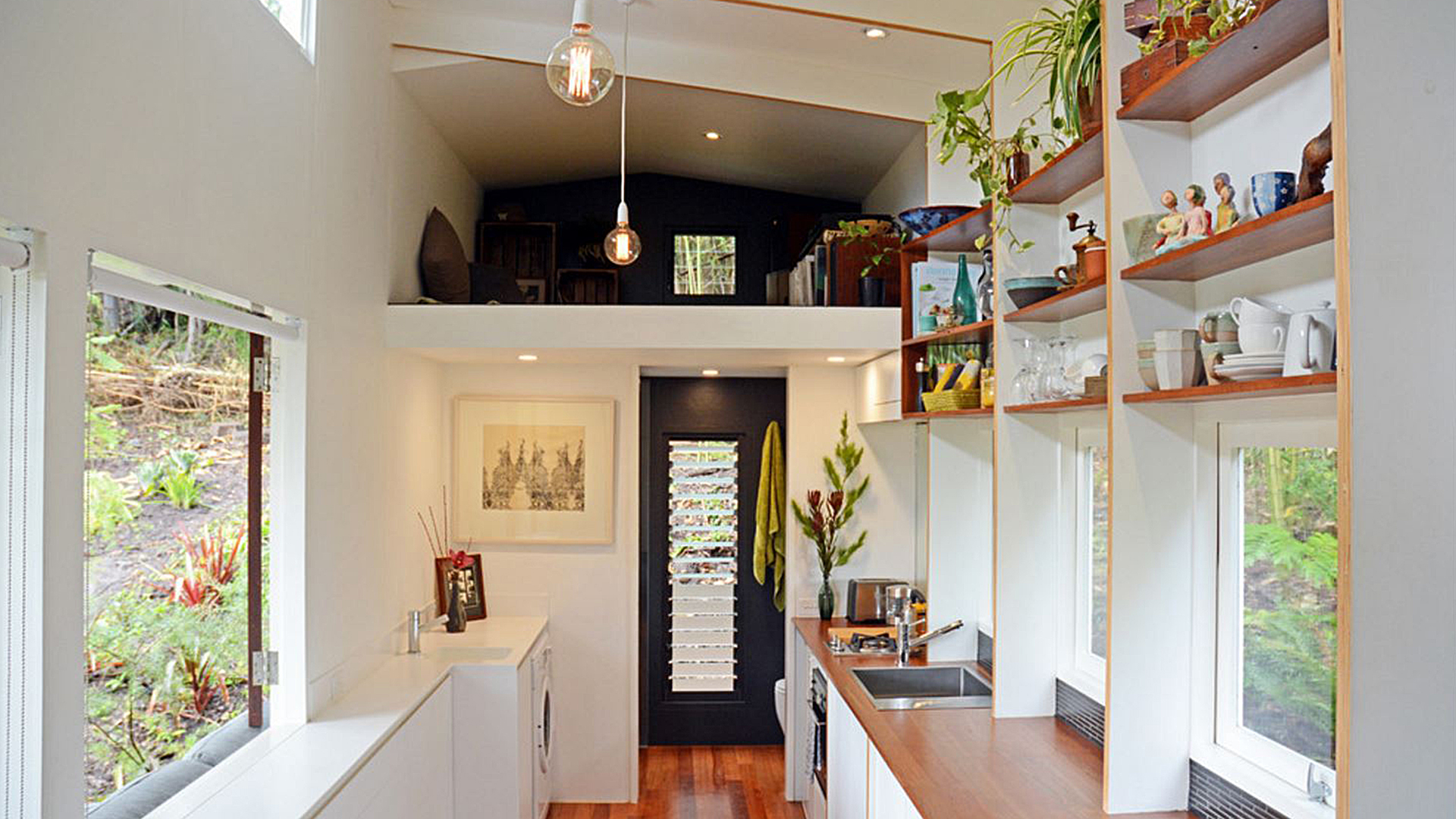 take a tour inside this modern tiny home. Black Bedroom Furniture Sets. Home Design Ideas