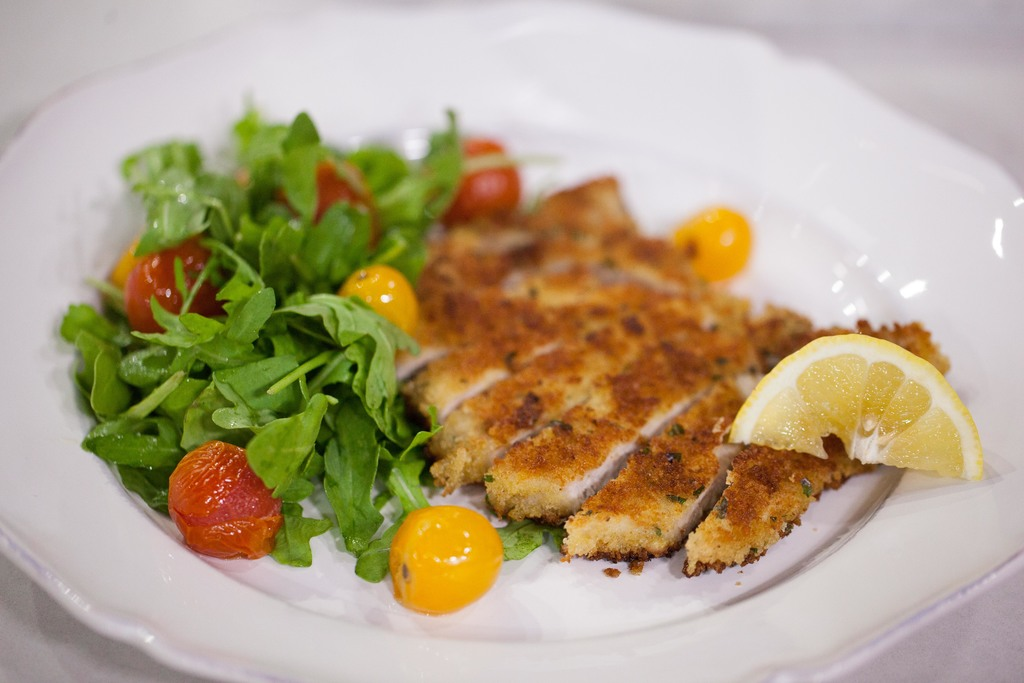 Veal Cutlets With Arugula And Tomato Salad Recipe — Dishmaps