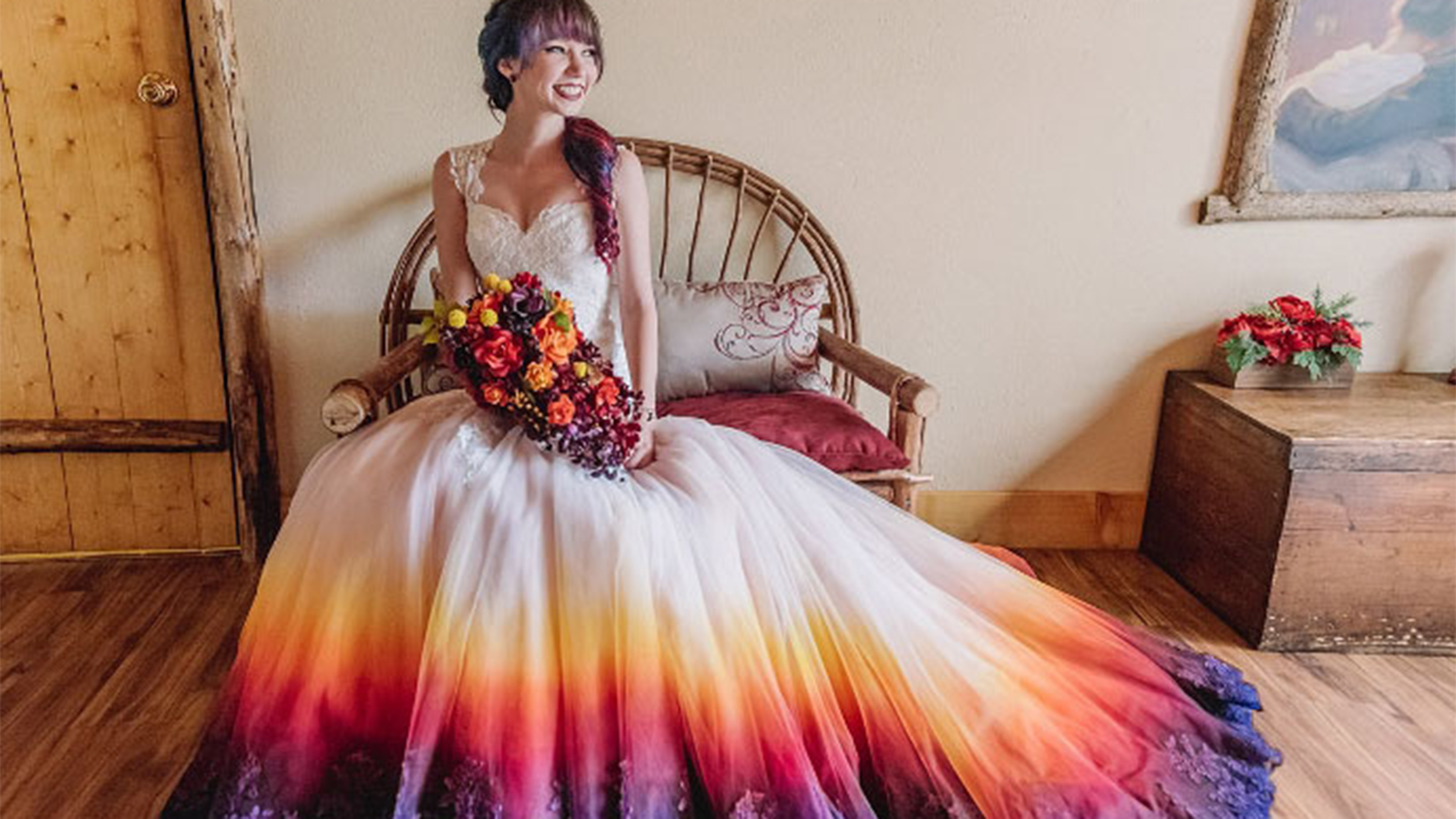Dip dyed colorful wedding dresses are the new bridal trend ombrellifo Gallery