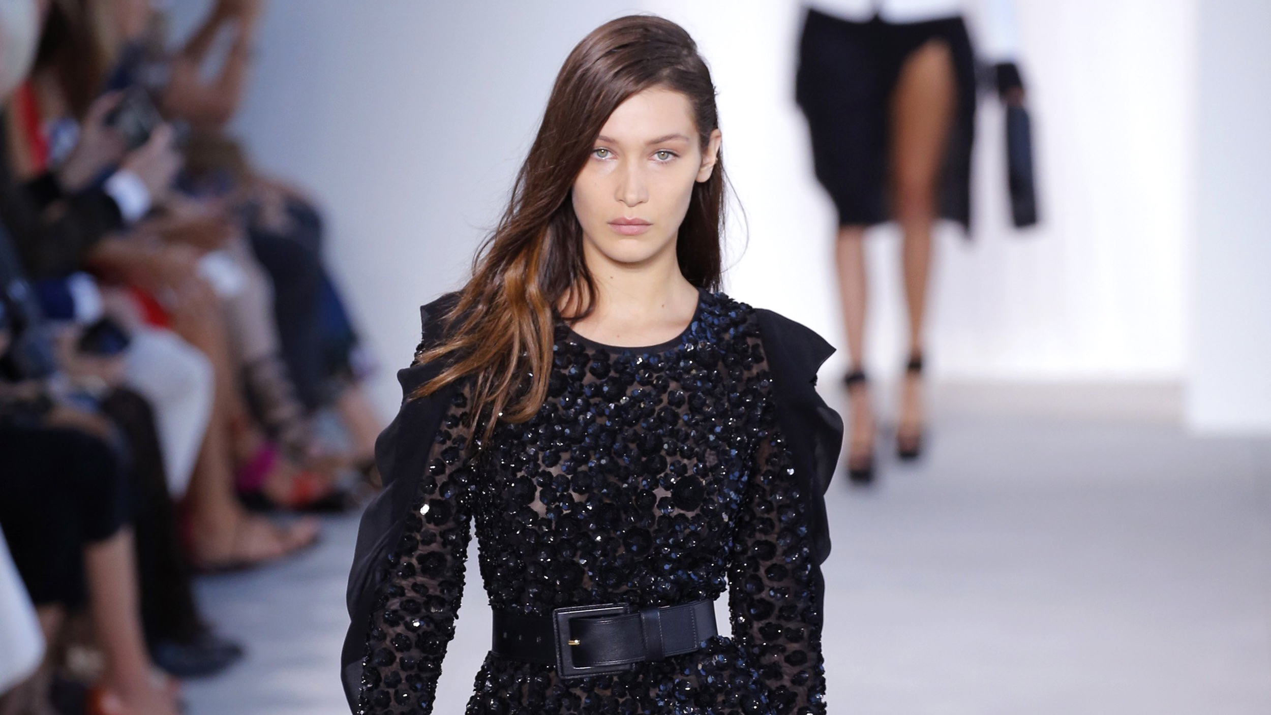 30e2366eb3f Bella Hadid falls on Michael Kors runway at Fashion Week, recovers with a  smile