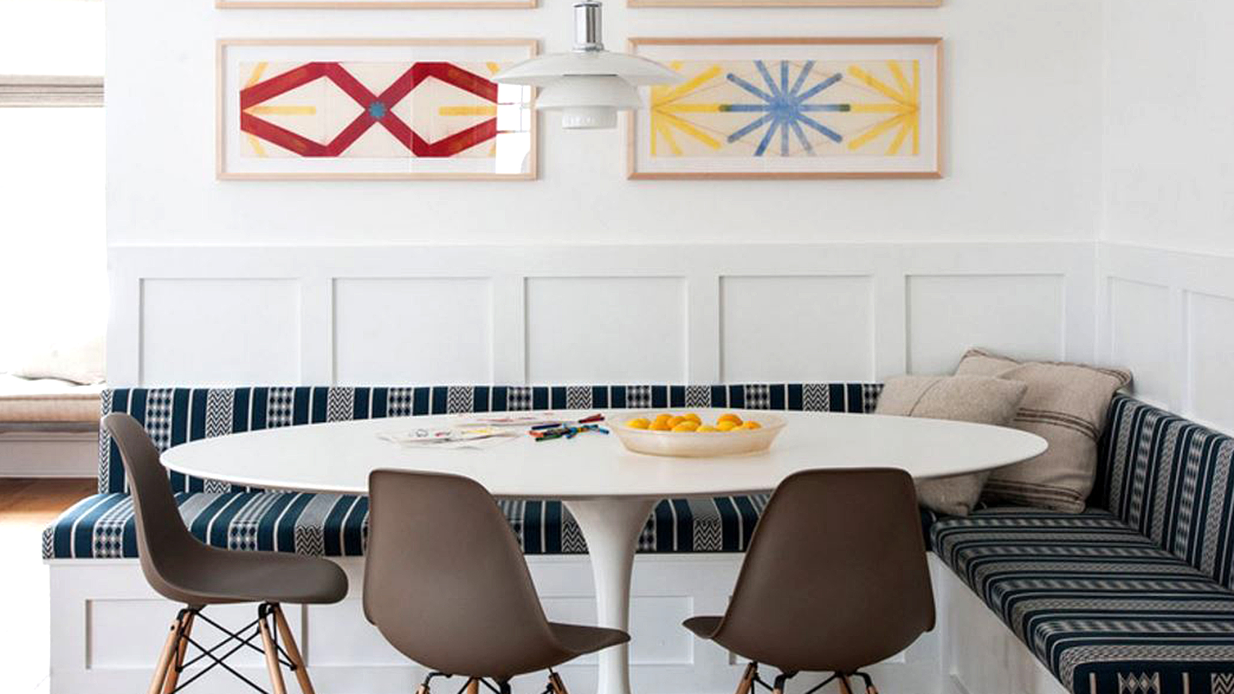 Add a banquette for an instant dining area in your kitchen