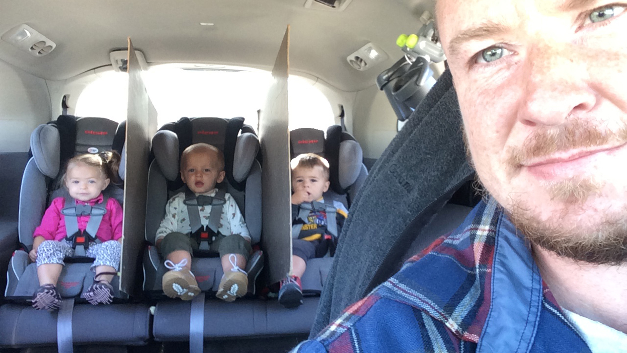Dad Of Triplets Creates Car Dividers To Stop Backseat Fights