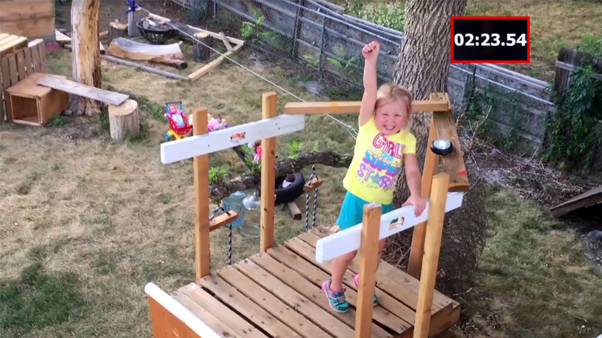 dad builds daughter 5 epic u0027ninja warrior u0027 obstacle course