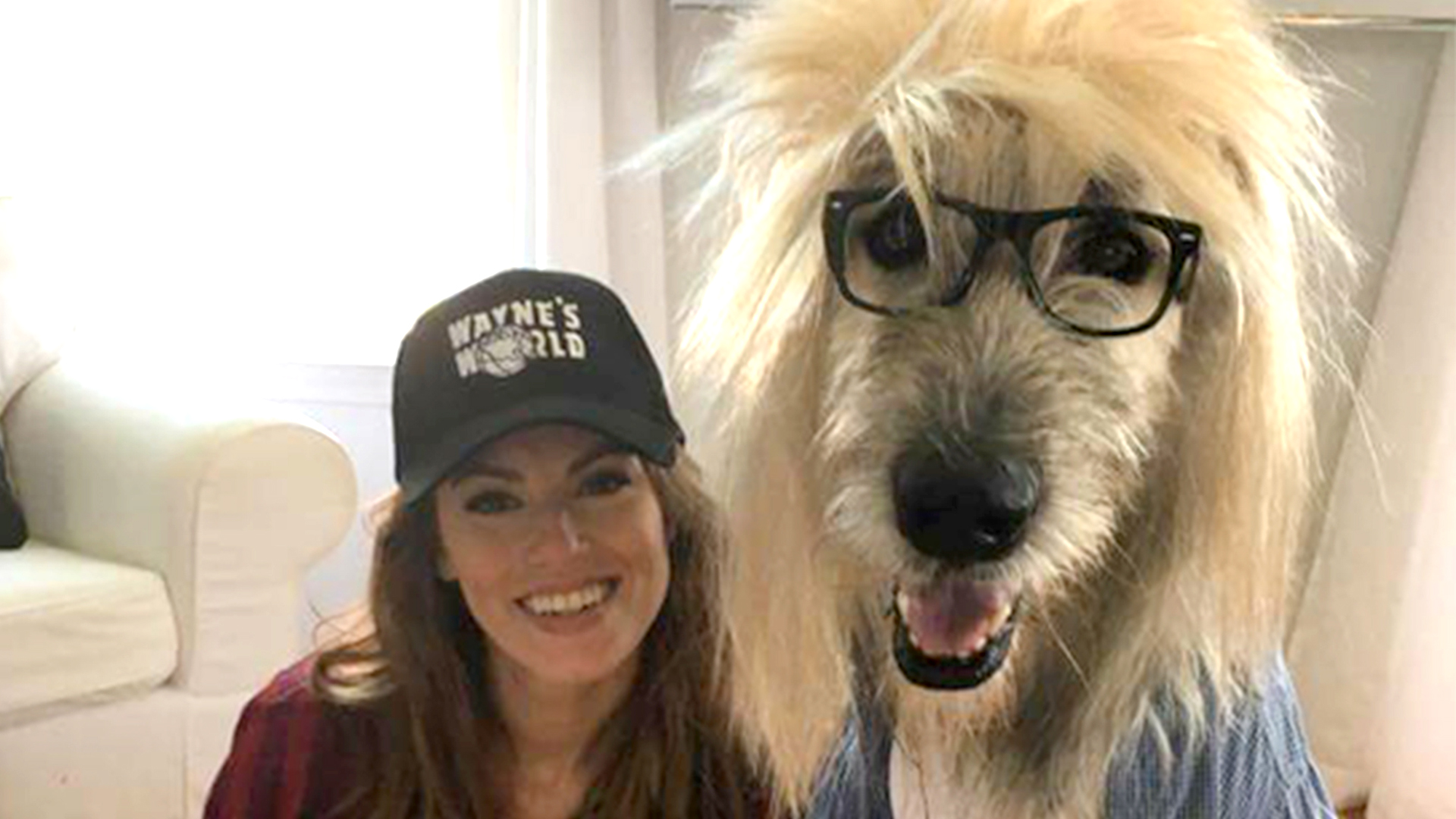 woman and dog win halloween with waynes world costume