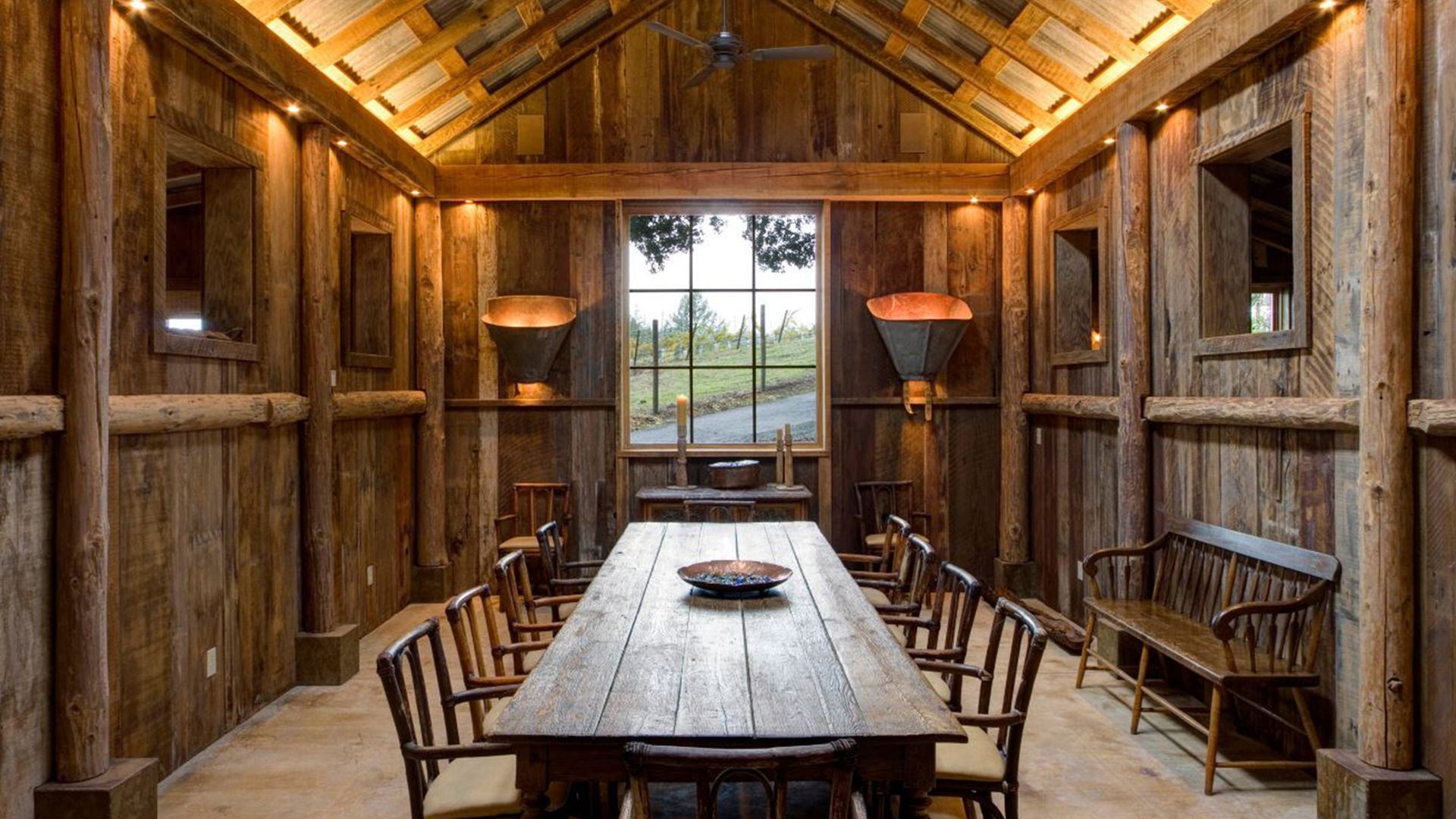 Rebuilt Barn With Yoga Studio Home Office Dining Space