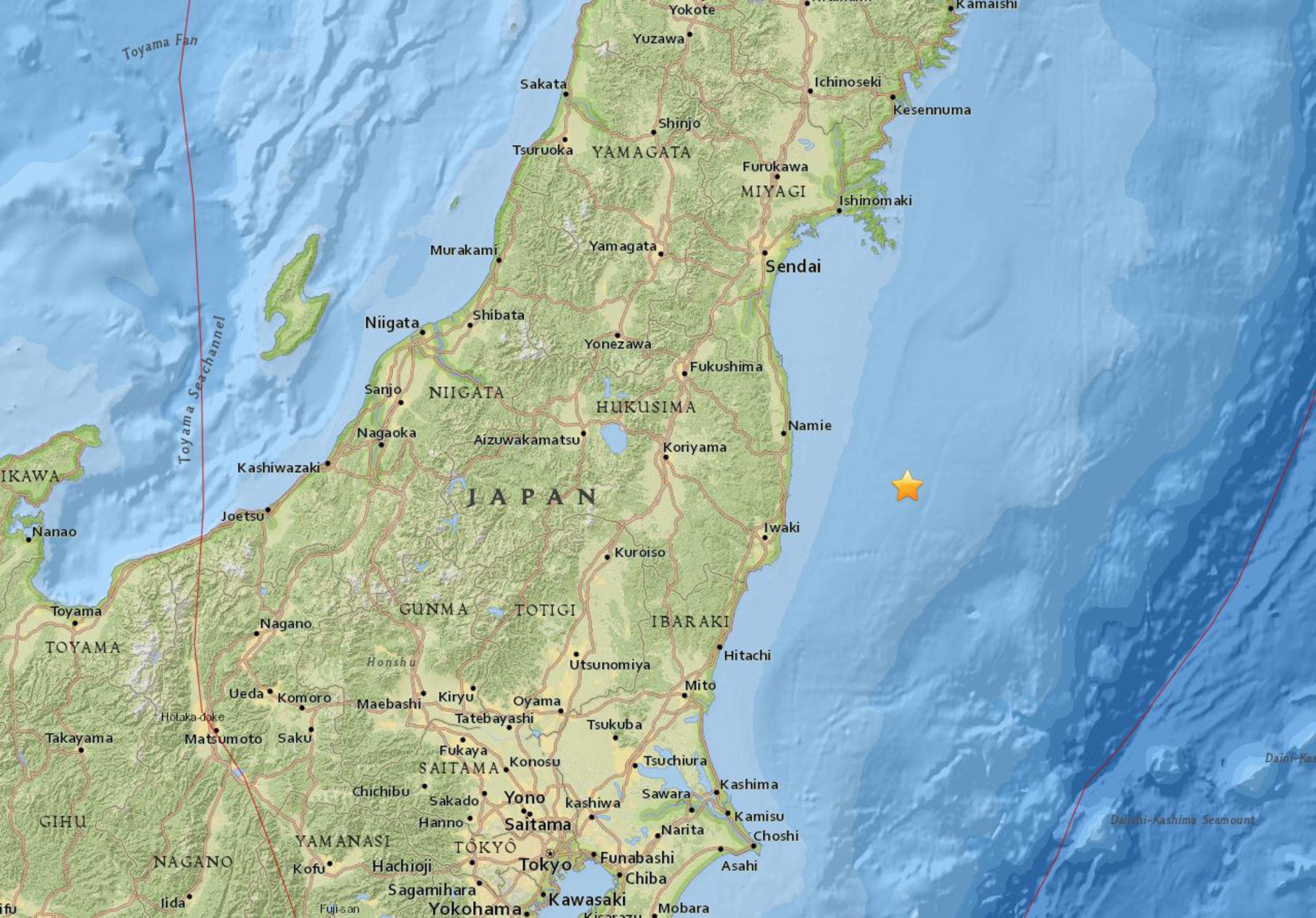 Major Quake Hits Near Fukushima Japan Site Of Tsunami - Japan map fukushima