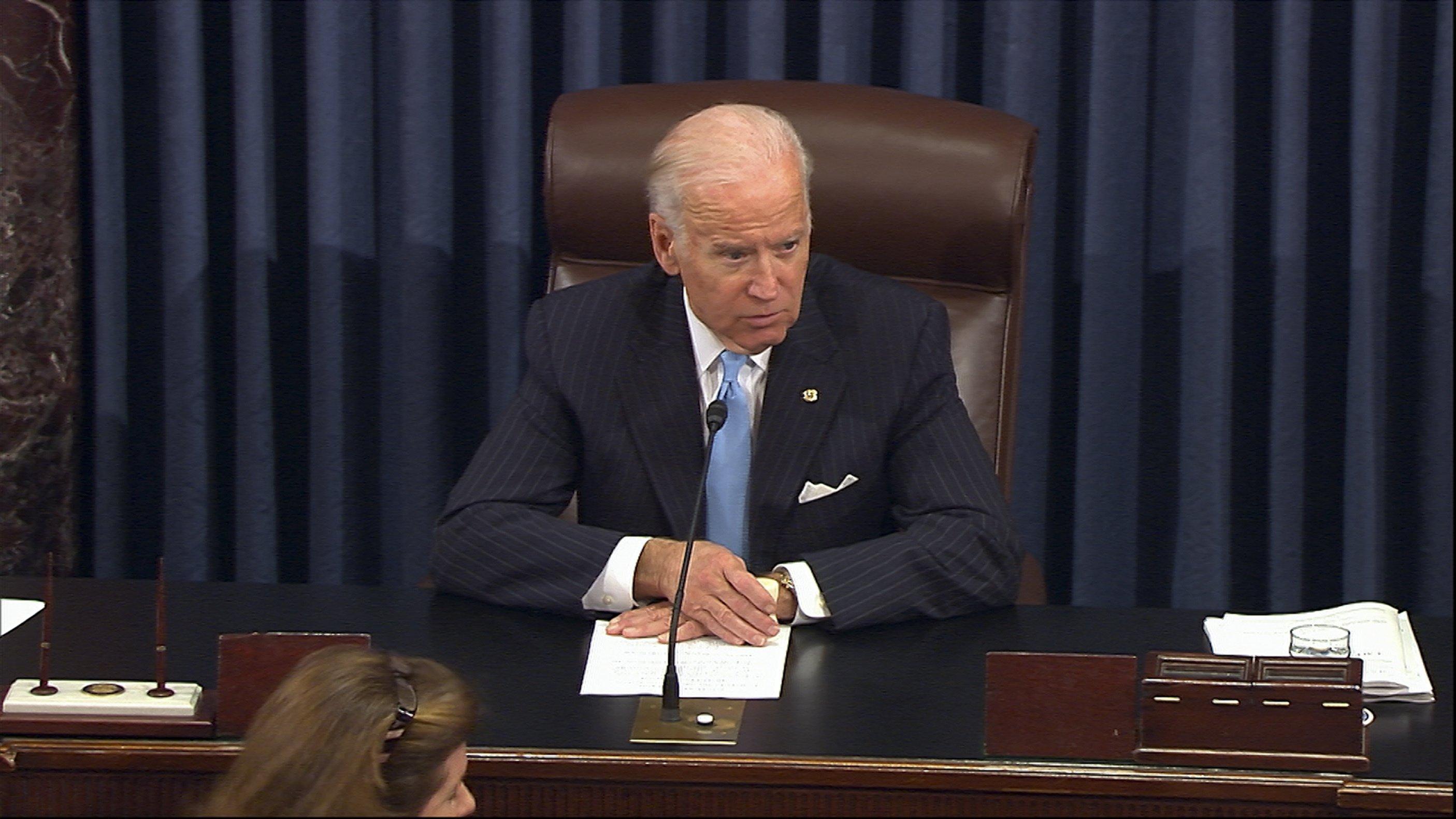 Joe Biden Tears Up As Senators Laud His Career