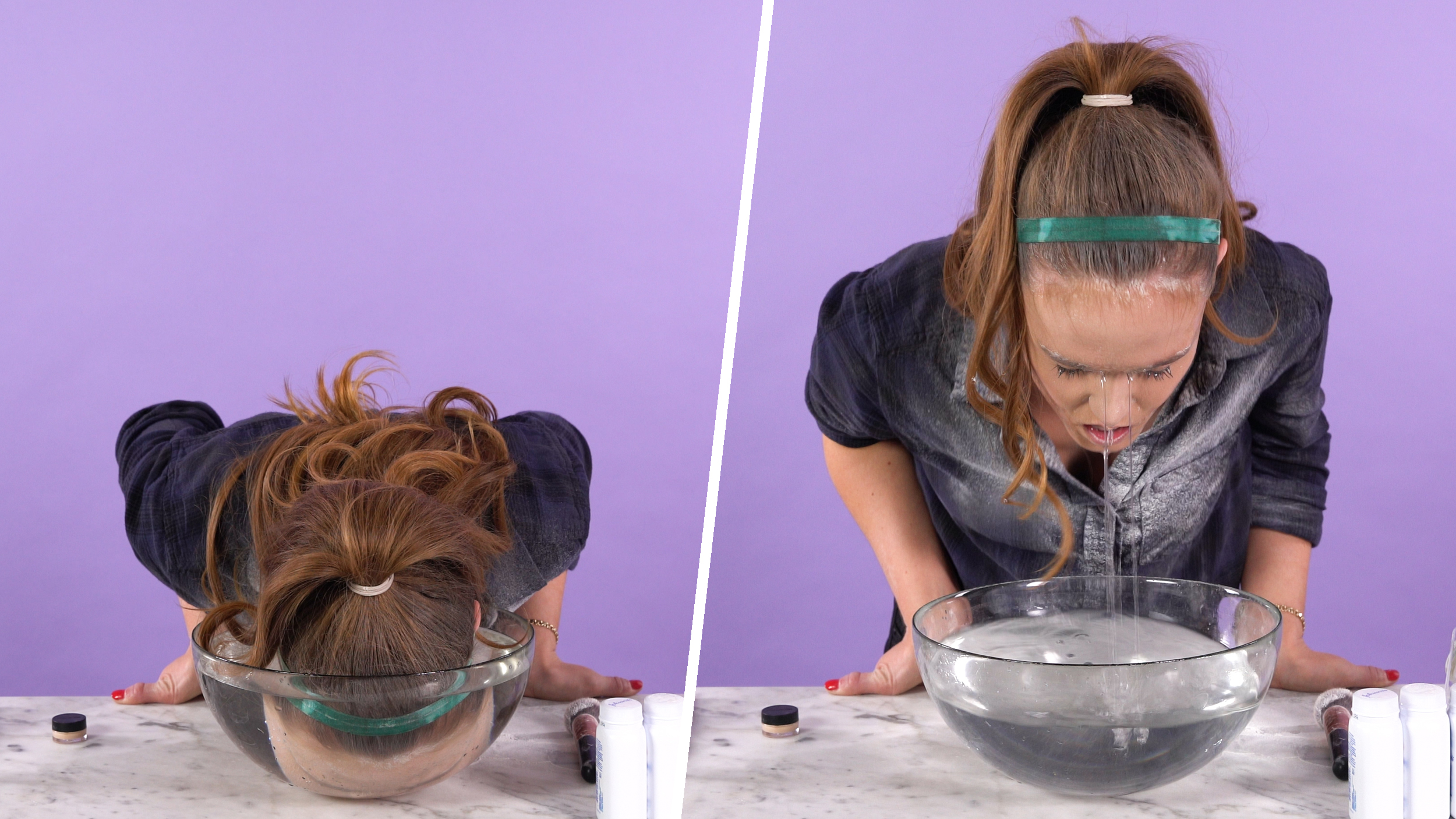 I tried dunking my face in water for longer-lasting makeup — and it worked!