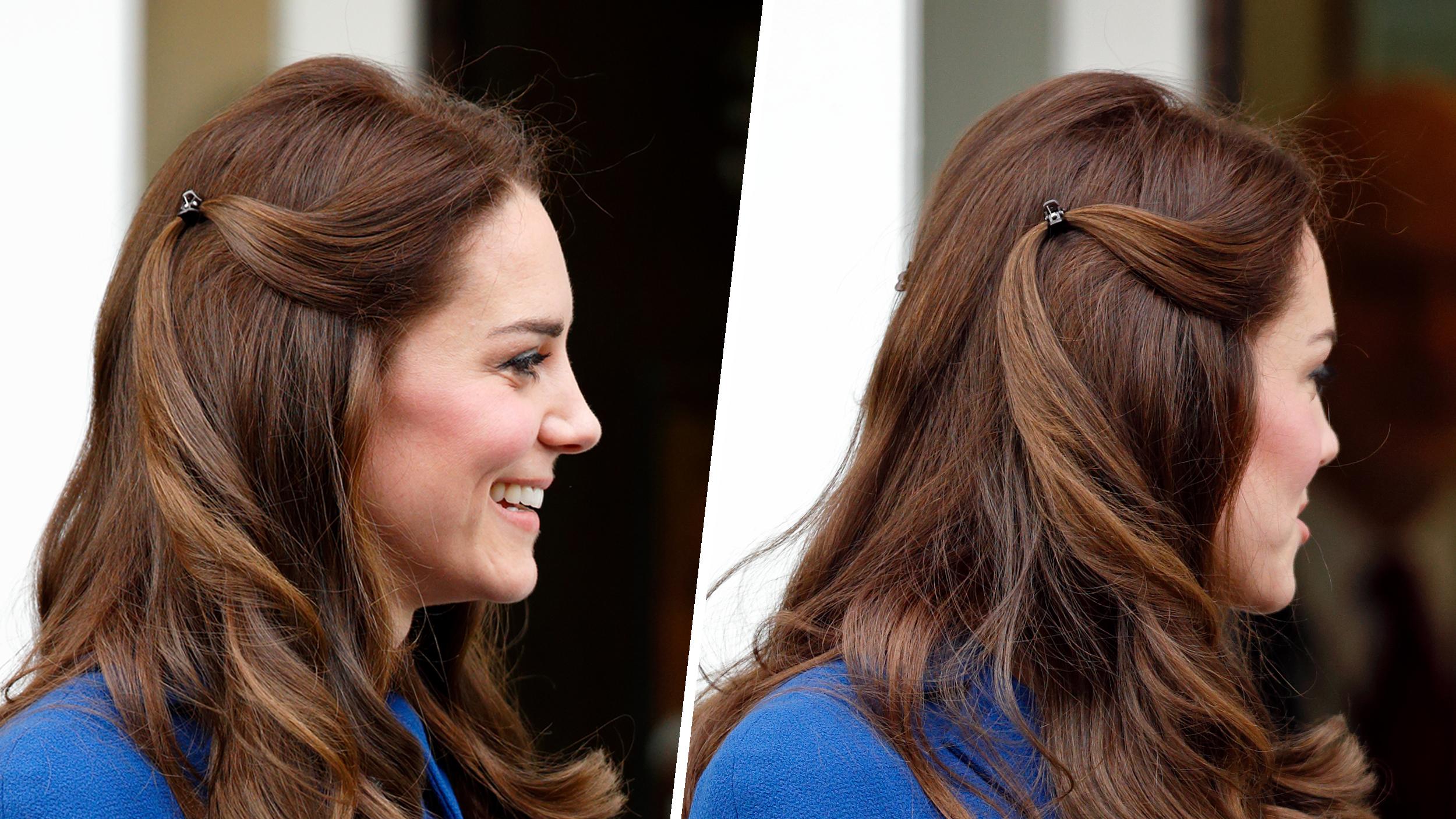 Duchess Kate wears plastic hair clips like a regular human