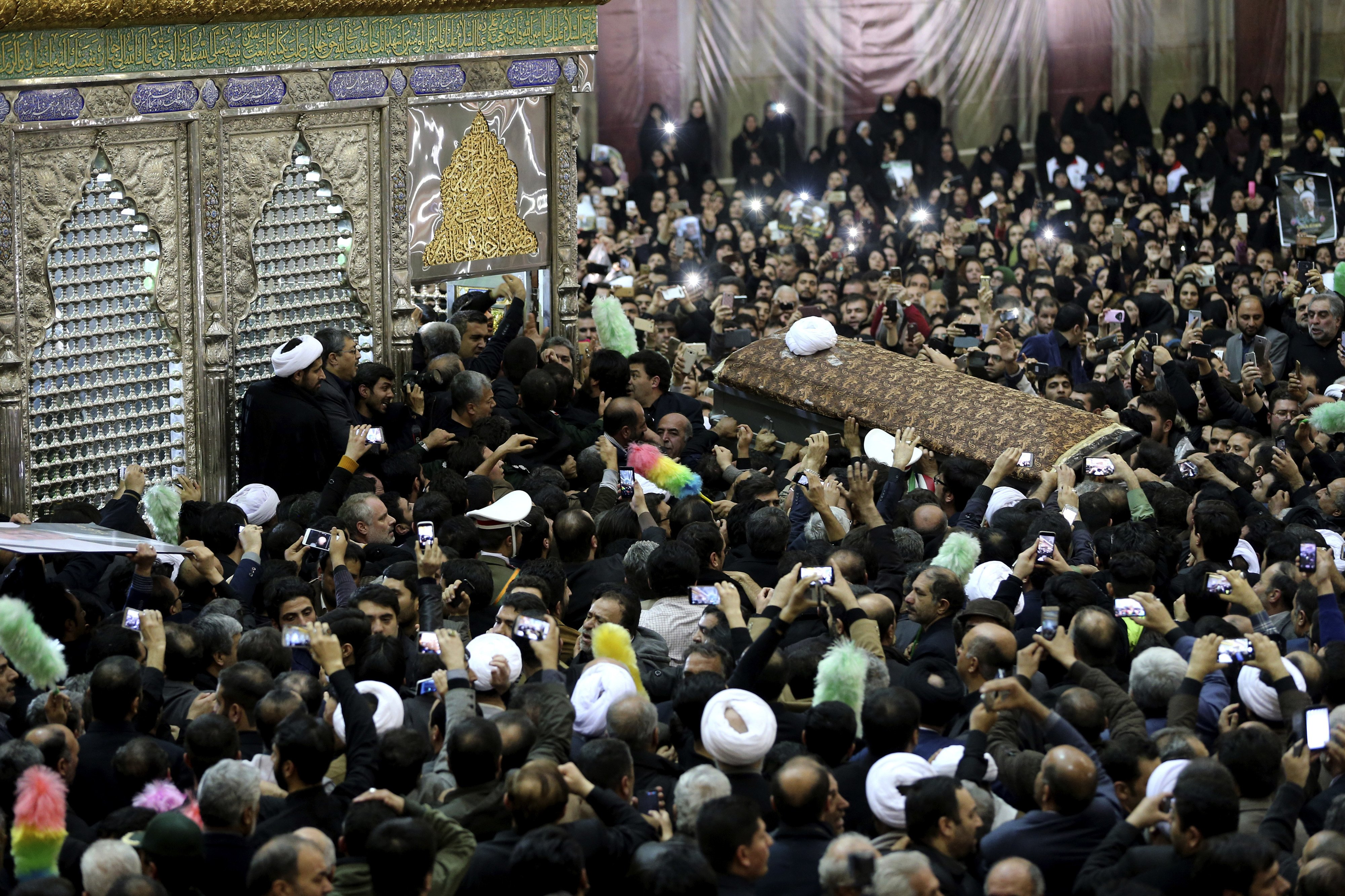 At the funeral of Imam Khomeini, 1989, Tehran