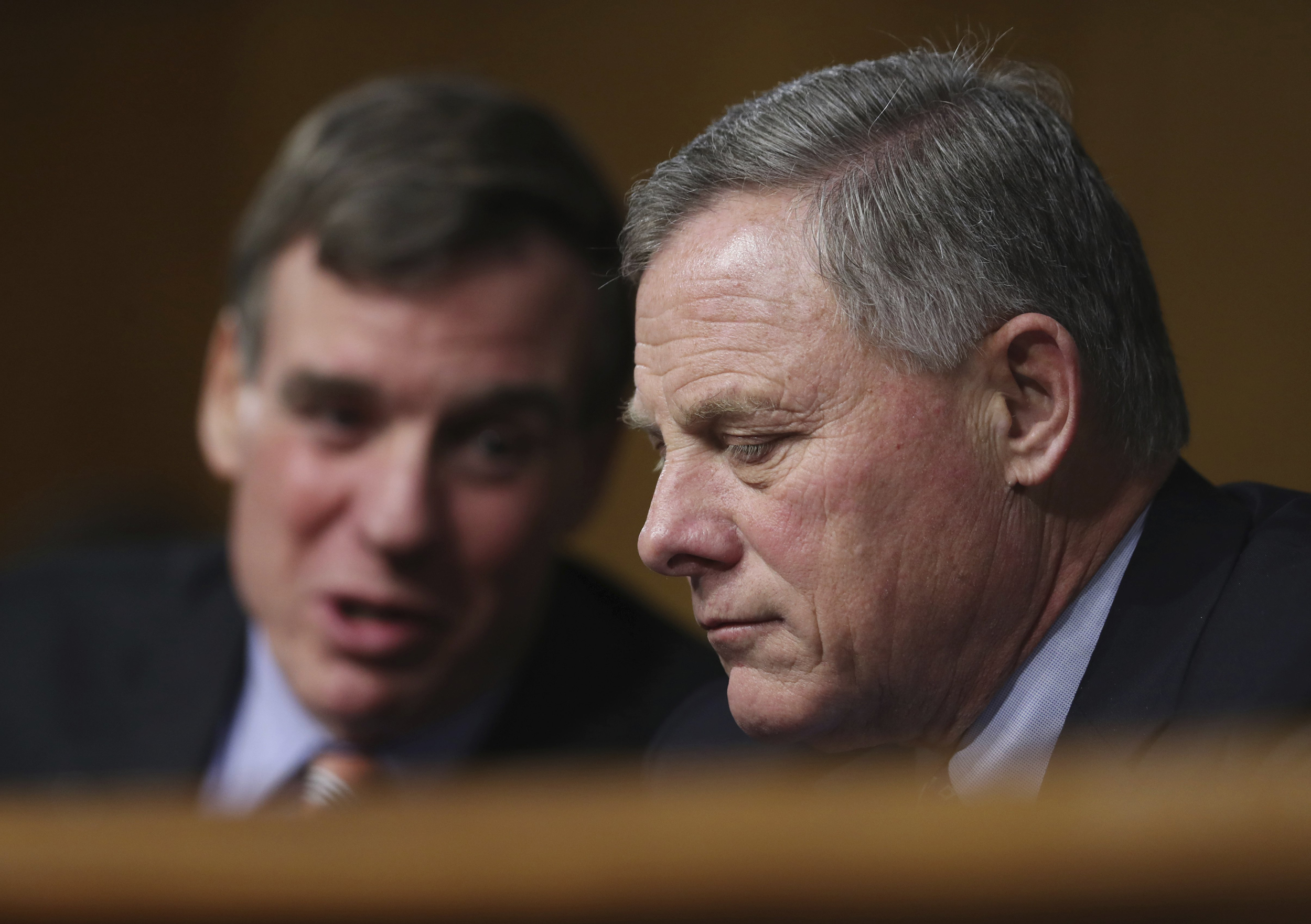 Image: Senate Intelligence Chairman Sen. Richard Burr, right, and committee Vice Chairman Sen. Mark Warner